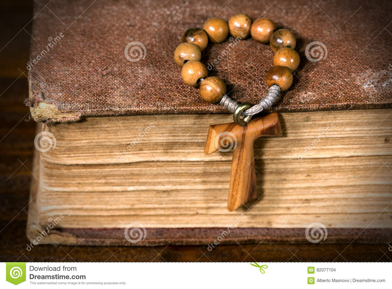 Tau Wooden Cross And Rosary Bead Stock Photo Image Of Concept