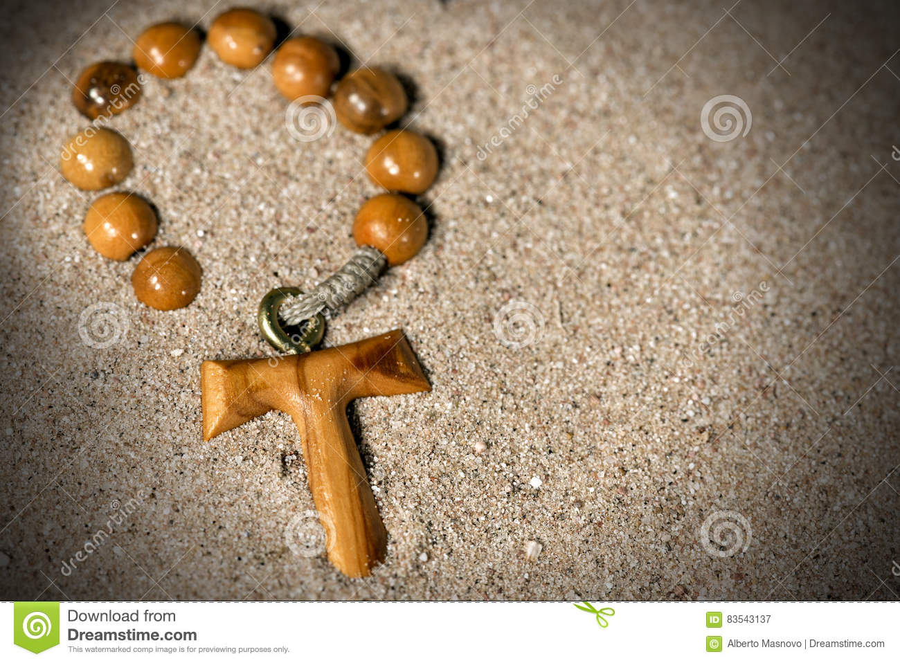 Tau Wooden Cross And Rosary Bead Stock Image Image Of Copy Knot