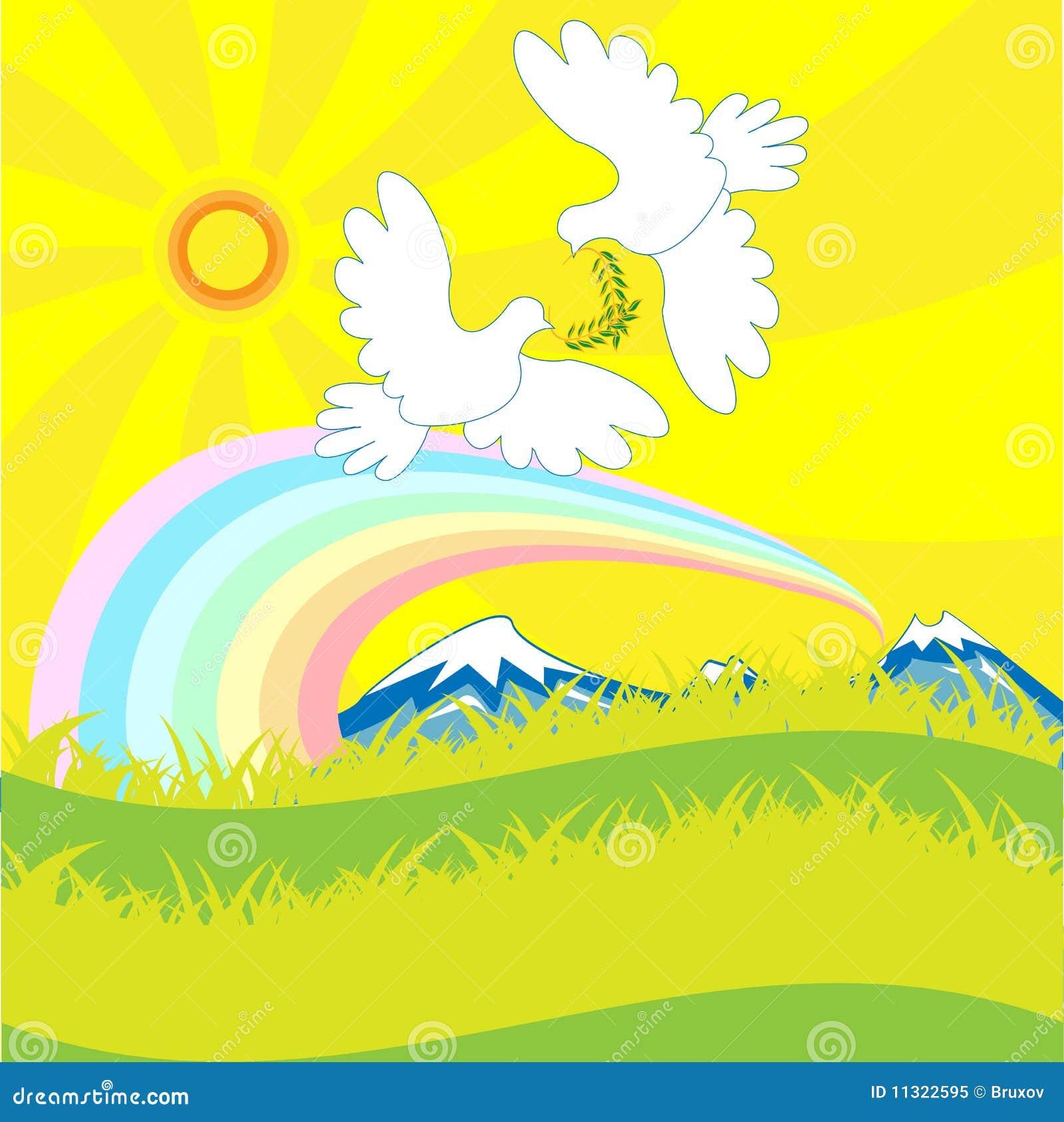 Taube und Regenbogen