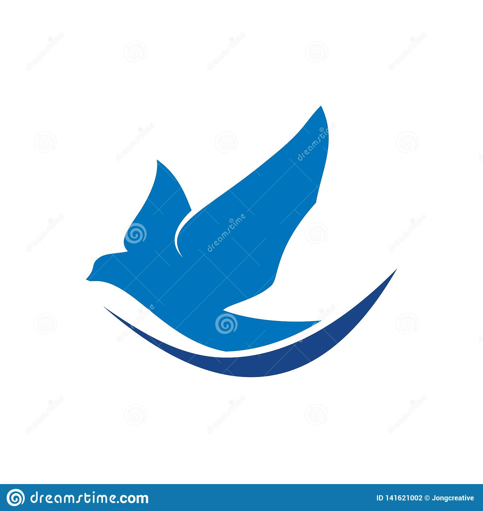 Tauben-Tauben-Vogel-Fliegen-Mittel des Friedenslogos