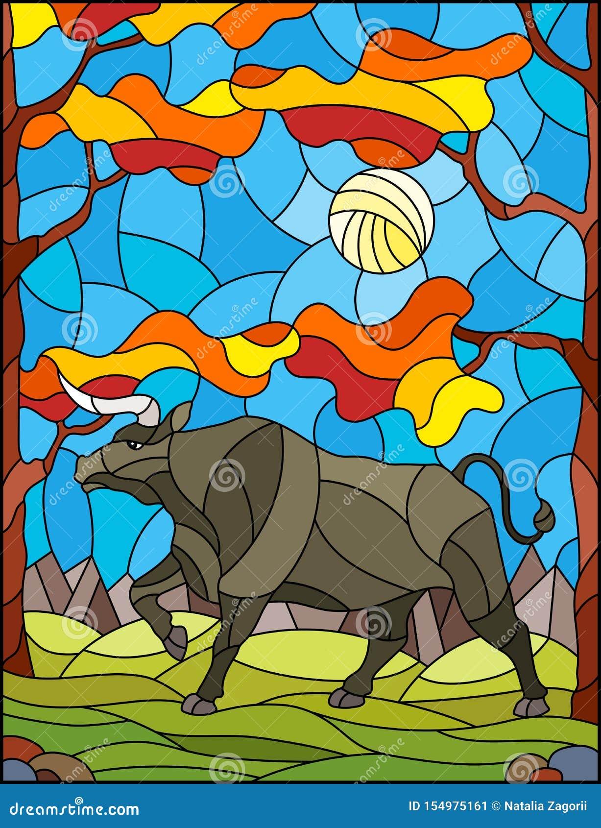 Taureau sauvage en verre souillé d illustration sur le fond des arbres, des montagnes et du ciel d automne