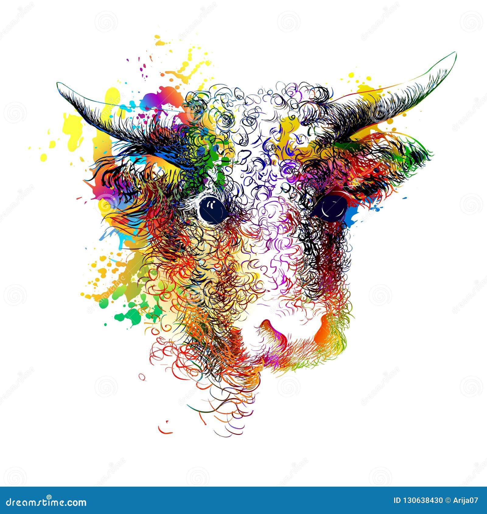 Taureau, vache, bison, portrait principal de buffle Peinture colorée de Digital