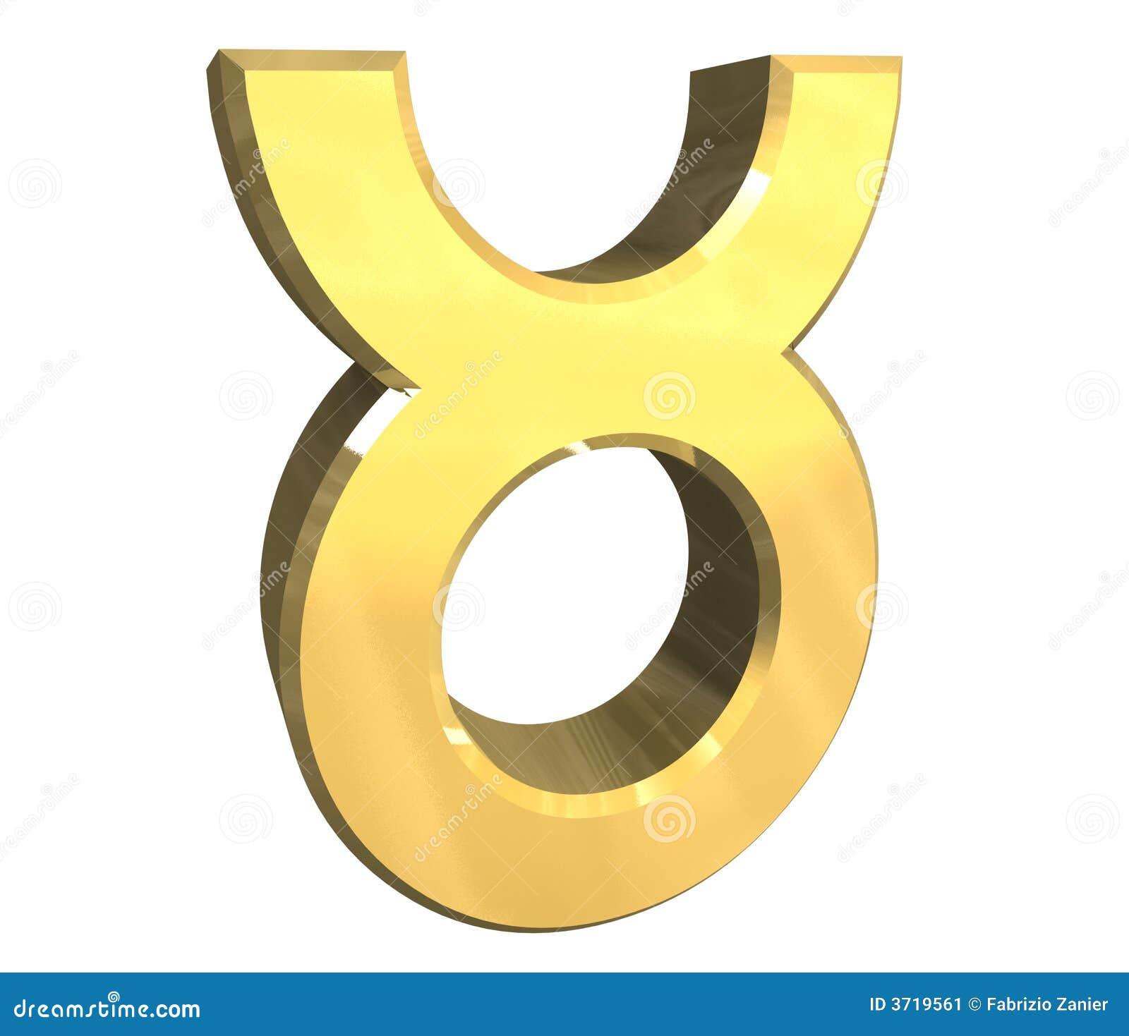 Taurus Astrology Symbol In Gold 3d Stock Illustration