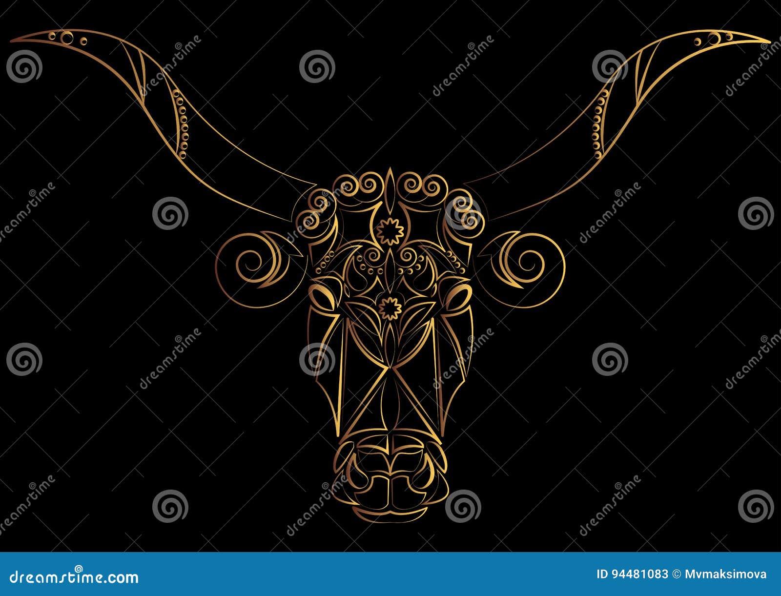 Taurus Wektora Ilustracji Znak Zodiaku Byk Byka S Głowa