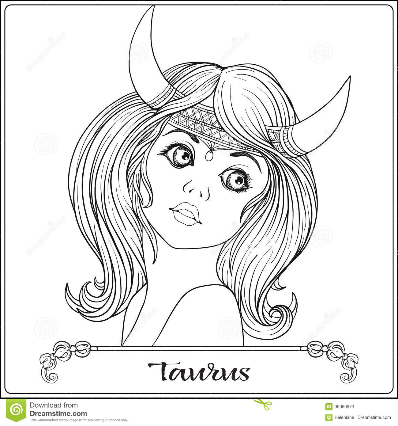 Taurus A Young Beautiful Girl In The Form Of One Signs Zodiac Outline Hand Drawing Coloring Page For Adult Book