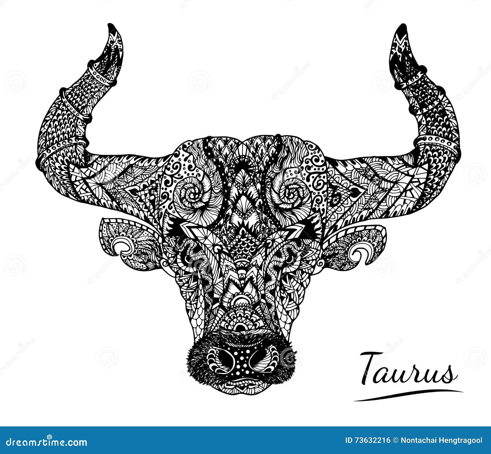 Taurus Zentangle Of Zodiac Stock Vector Image 73632216