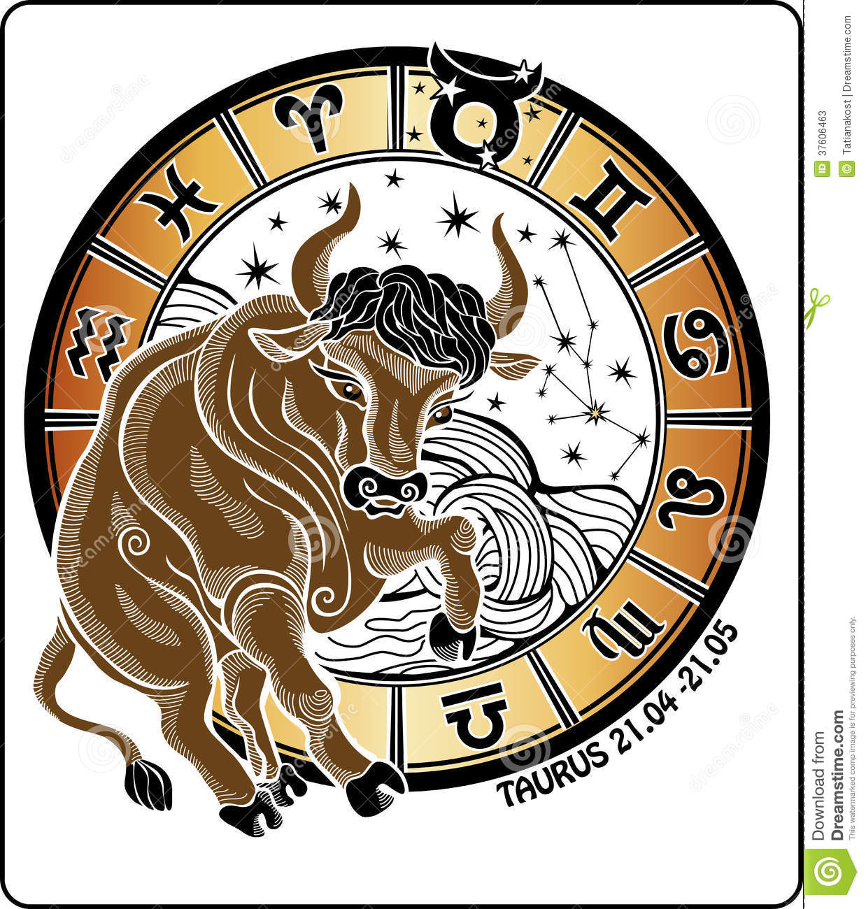 Taurus And The Zodiac Sign.Horoscope Circle. Vecto Stock ...