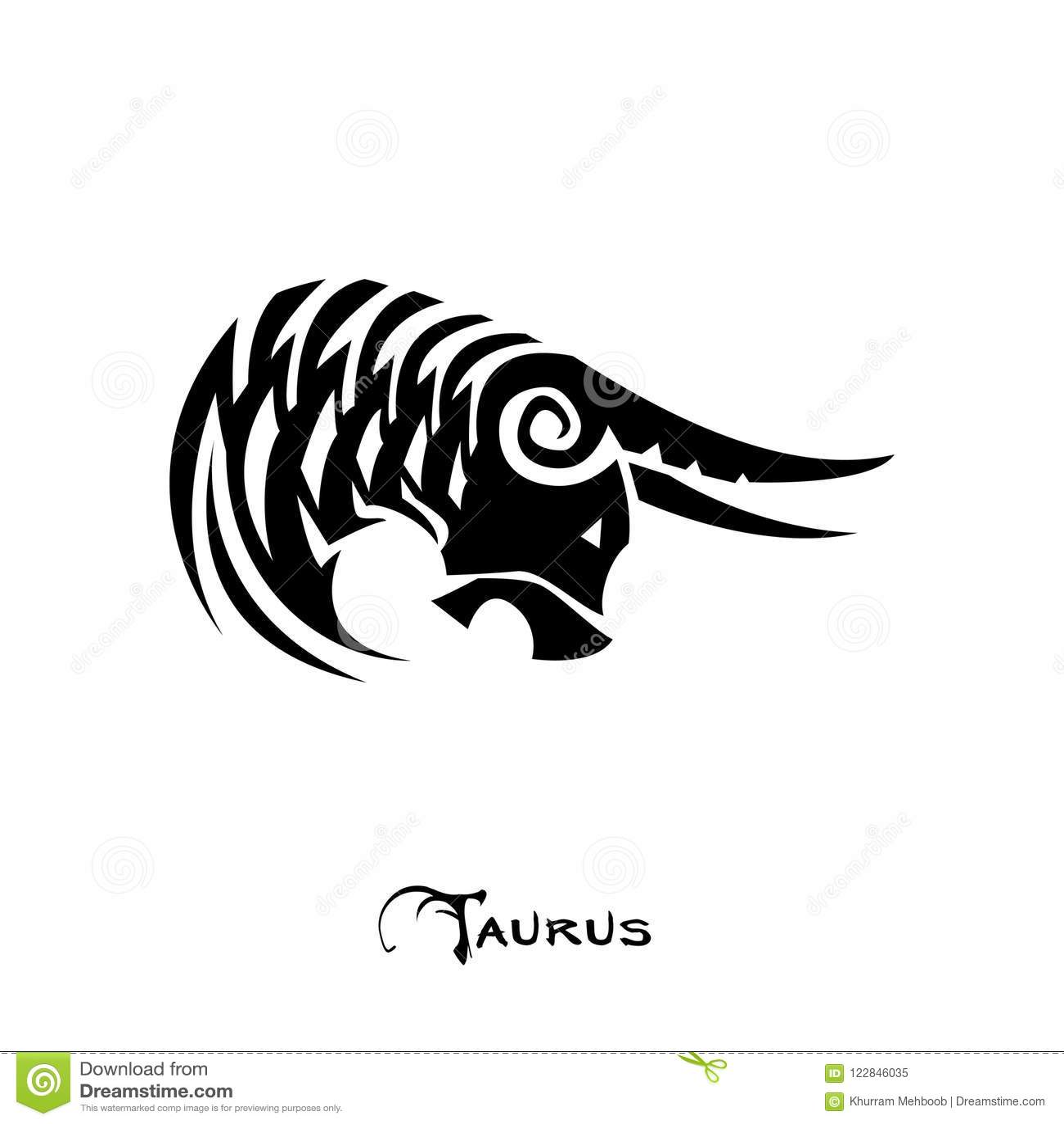 Taurus Zodiac Sign Tattoo Style Stock Vector Illustration Of