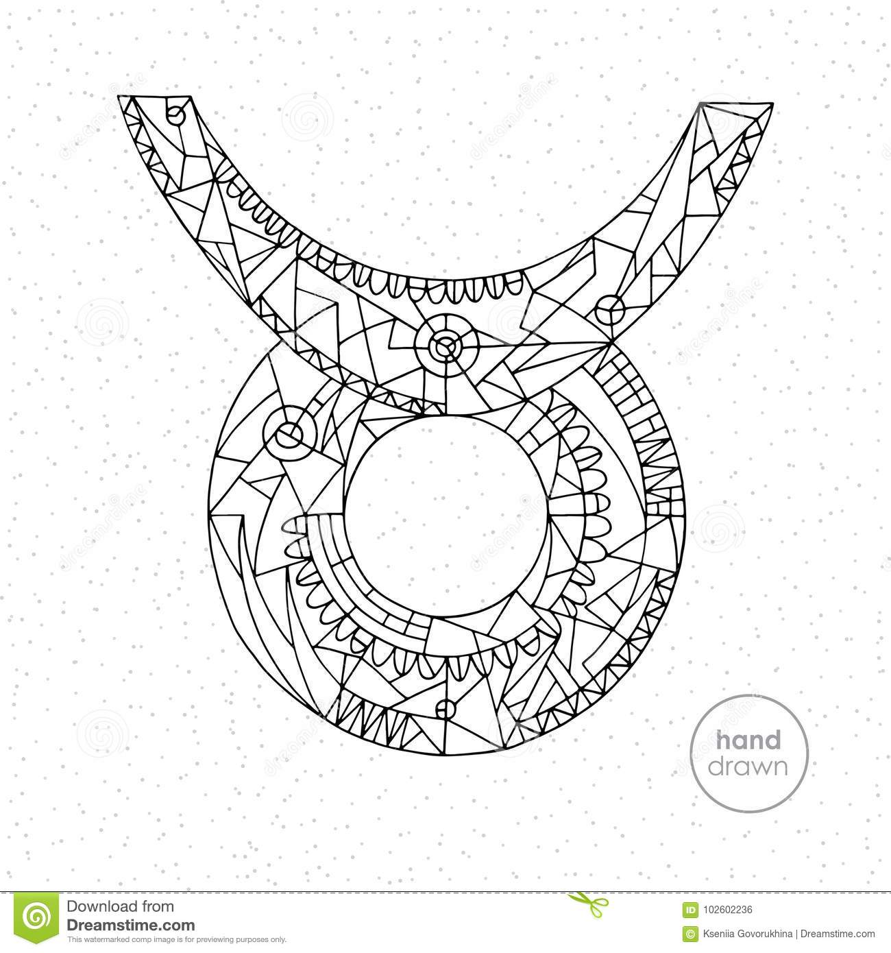 Taurus zodiac sign vector hand drawn horoscope illustration astrological coloring page
