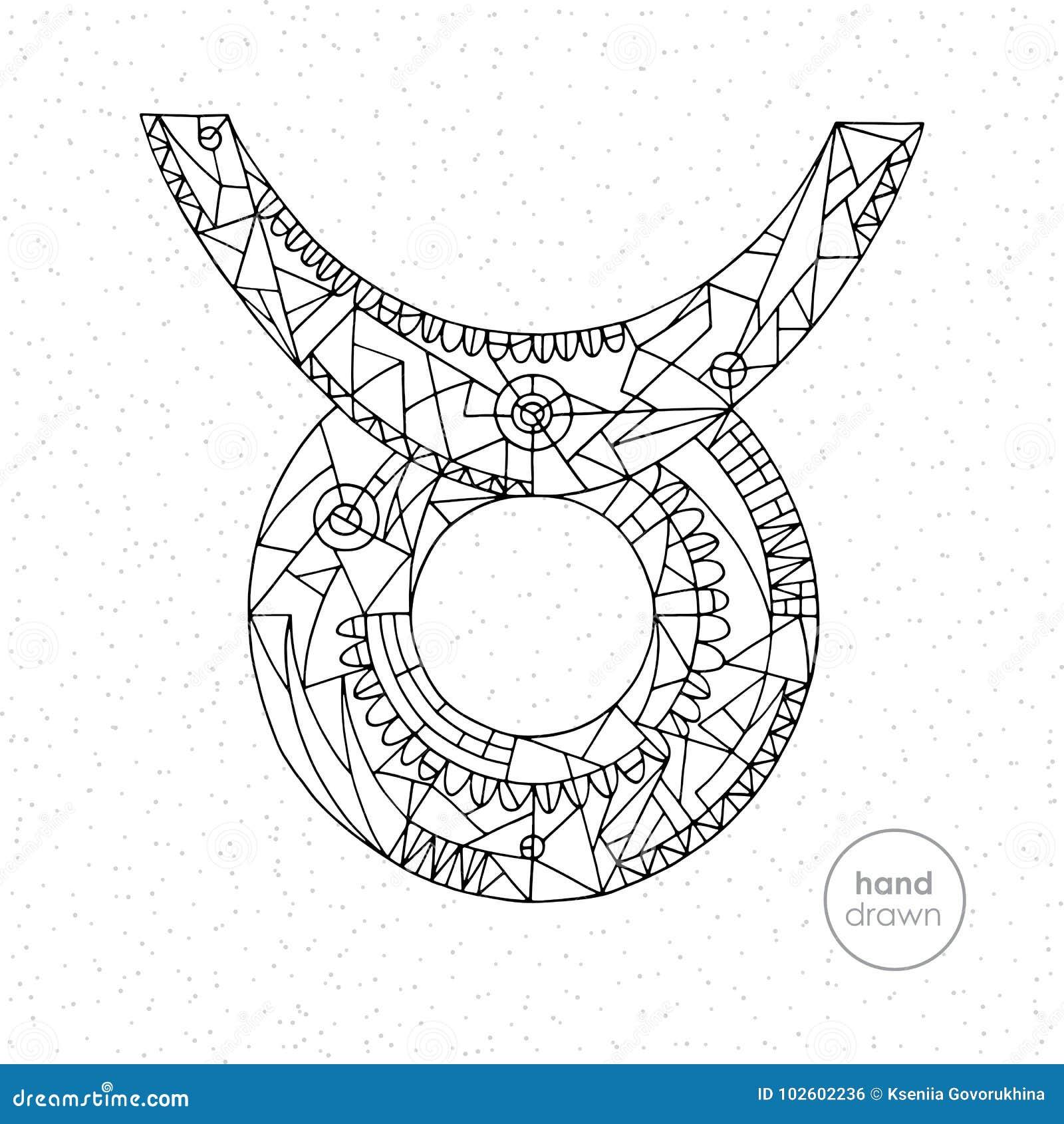 Taurus Zodiac Sign Vector Hand Drawn Horoscope Illustration