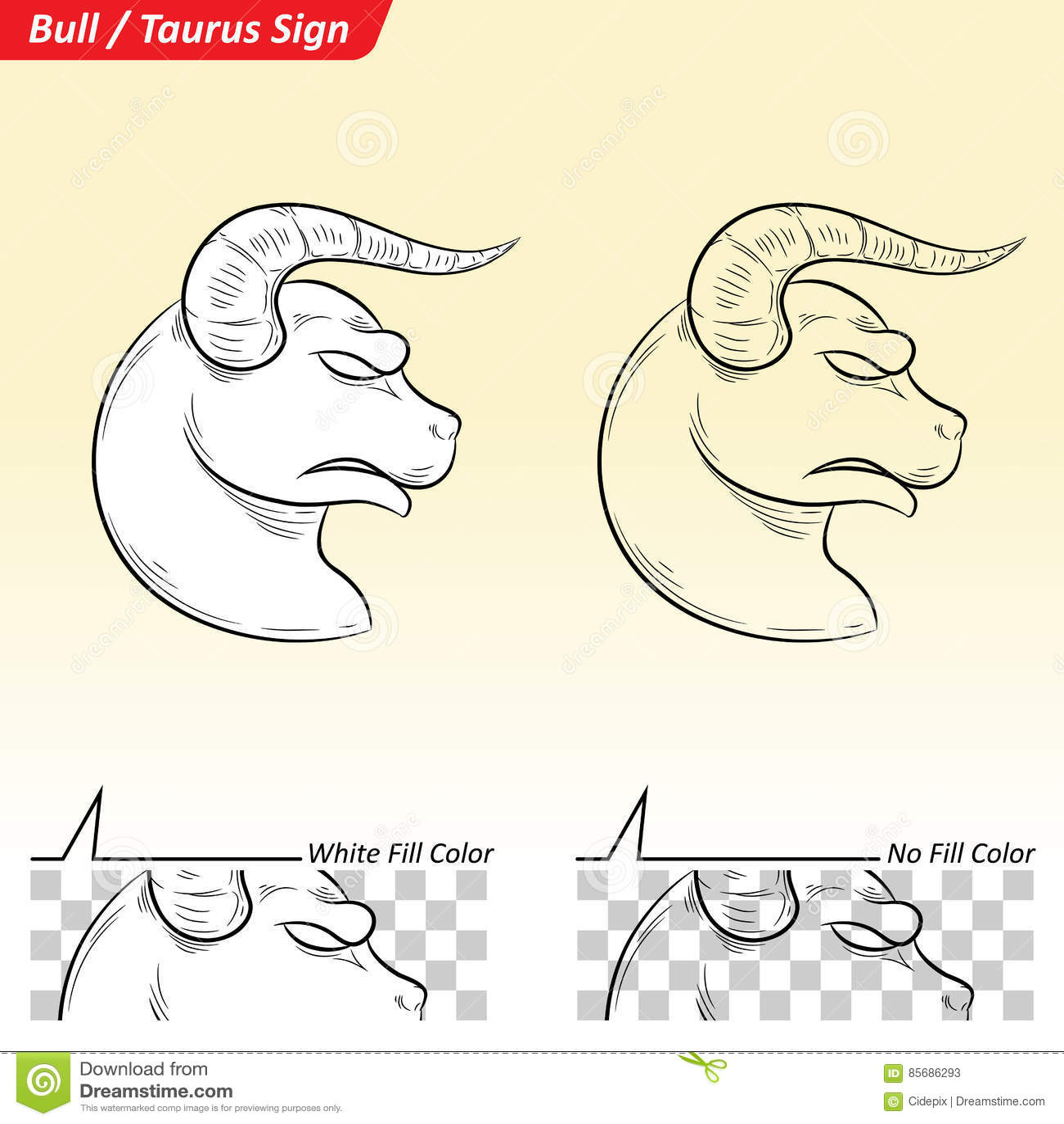 Taurus Zodiac Star Sign Sketch