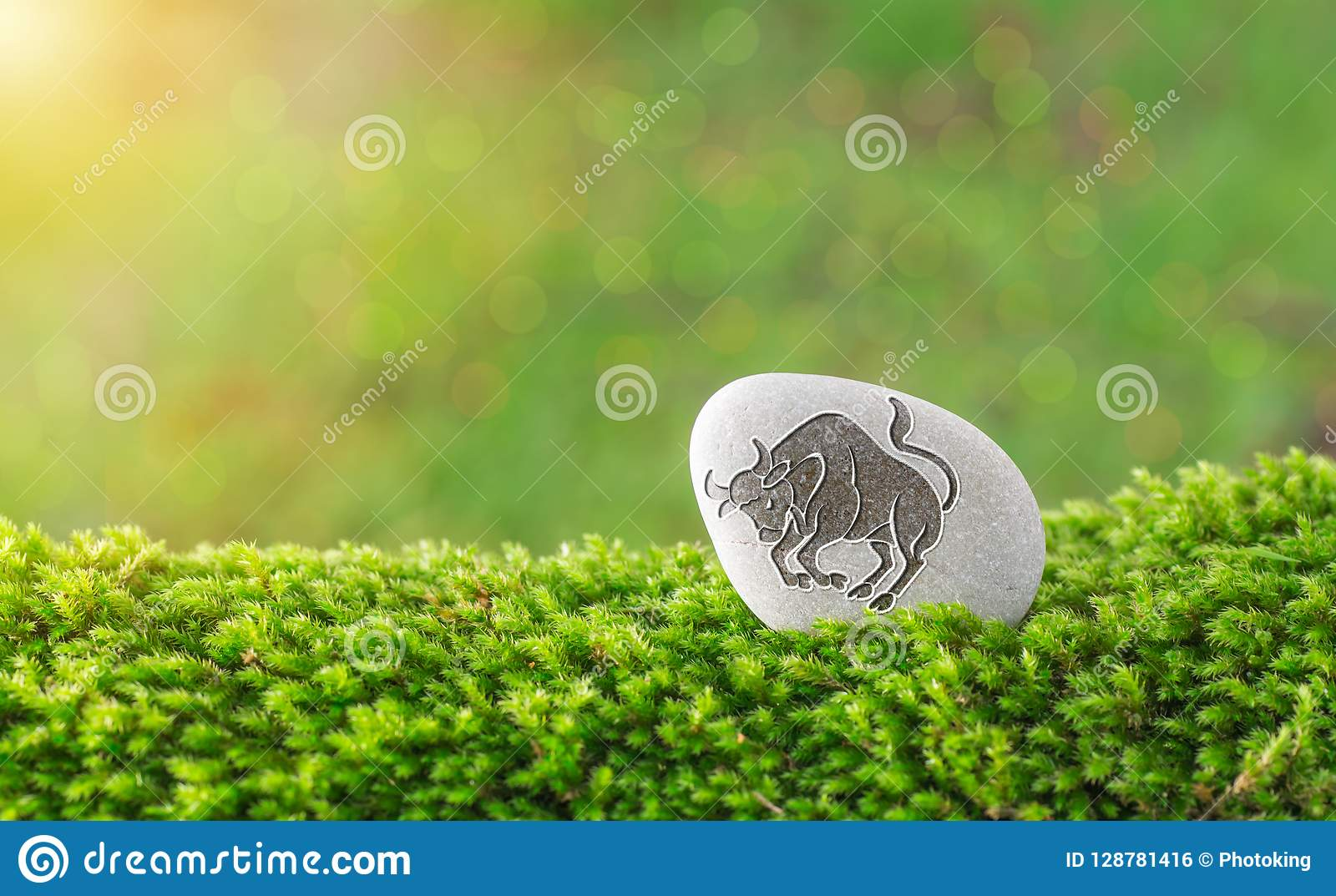 Taurus zodiac symbol in stone