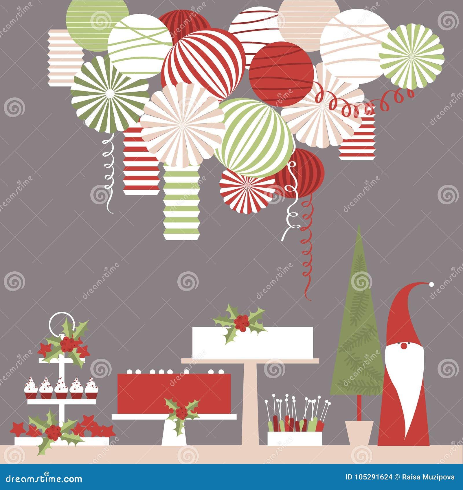 Tavola del dessert di Natale e lanterne di carta