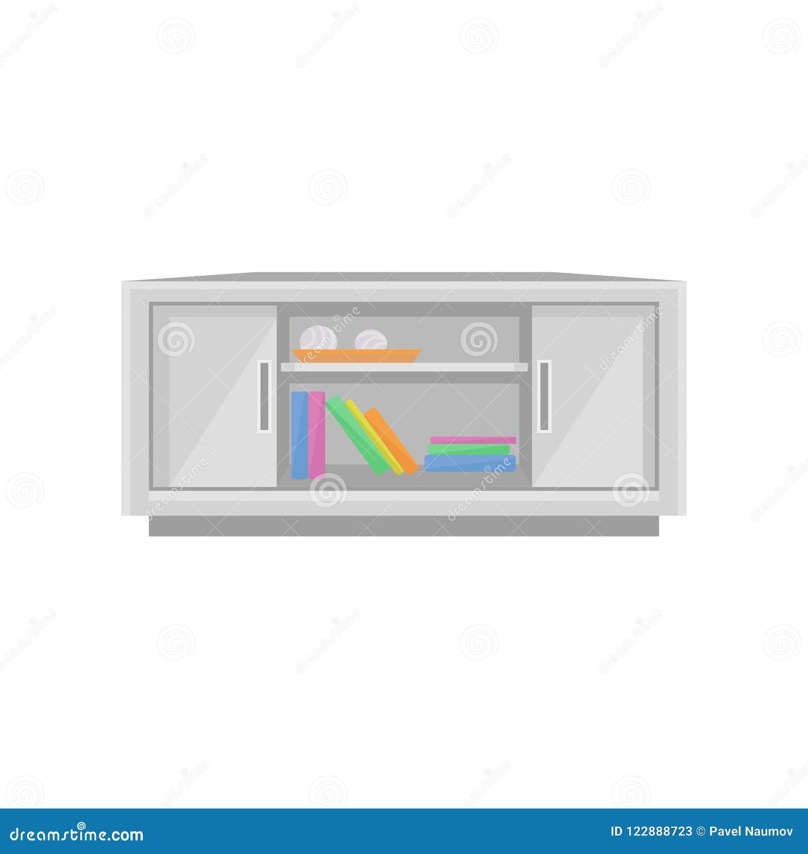Tavola della TV, illustrazione di vettore dell elemento di interior design su un fondo bianco