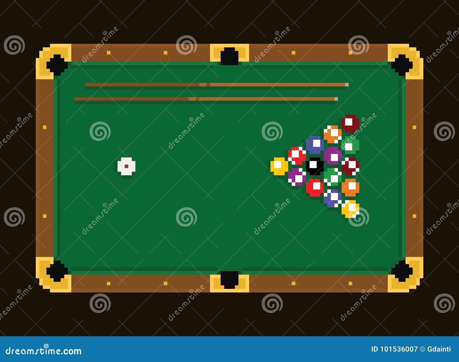 Tavola di biliardo di verde di arte del pixel con le palle for Antifurto con le palle