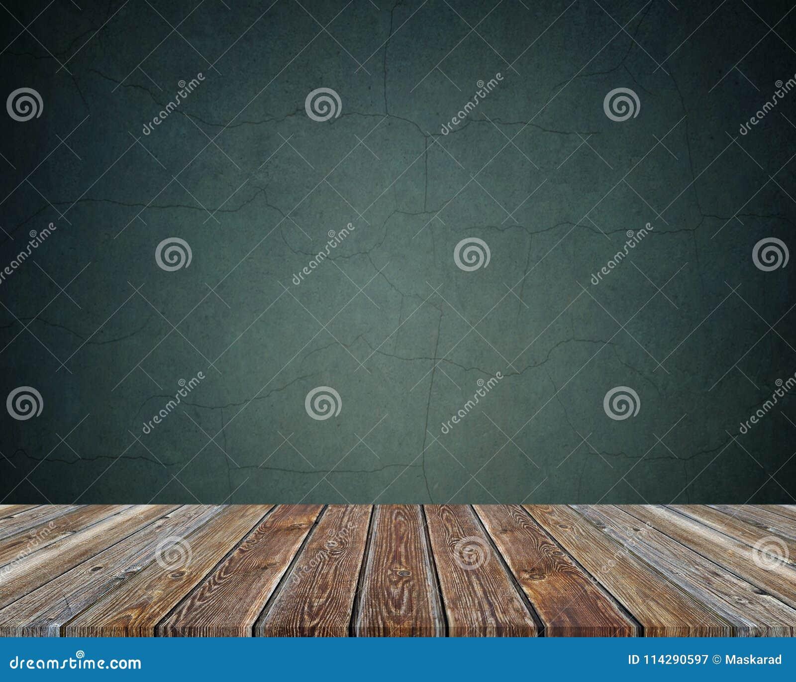 Tavola di legno vuota sopra fondo scuro Struttura