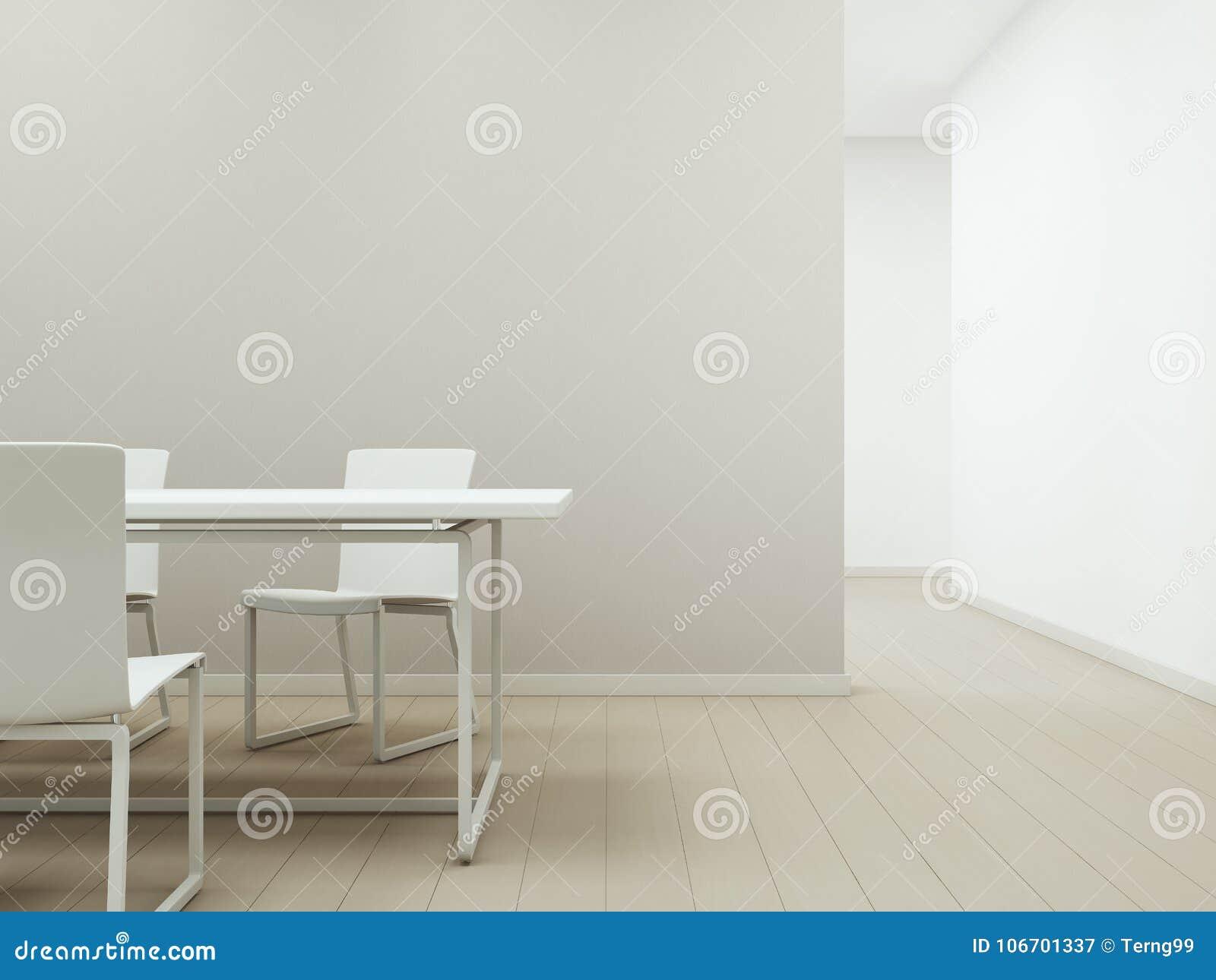 Sedie Bianche E Legno : Tavola e sedie bianche sul pavimento di legno con area di riunione o