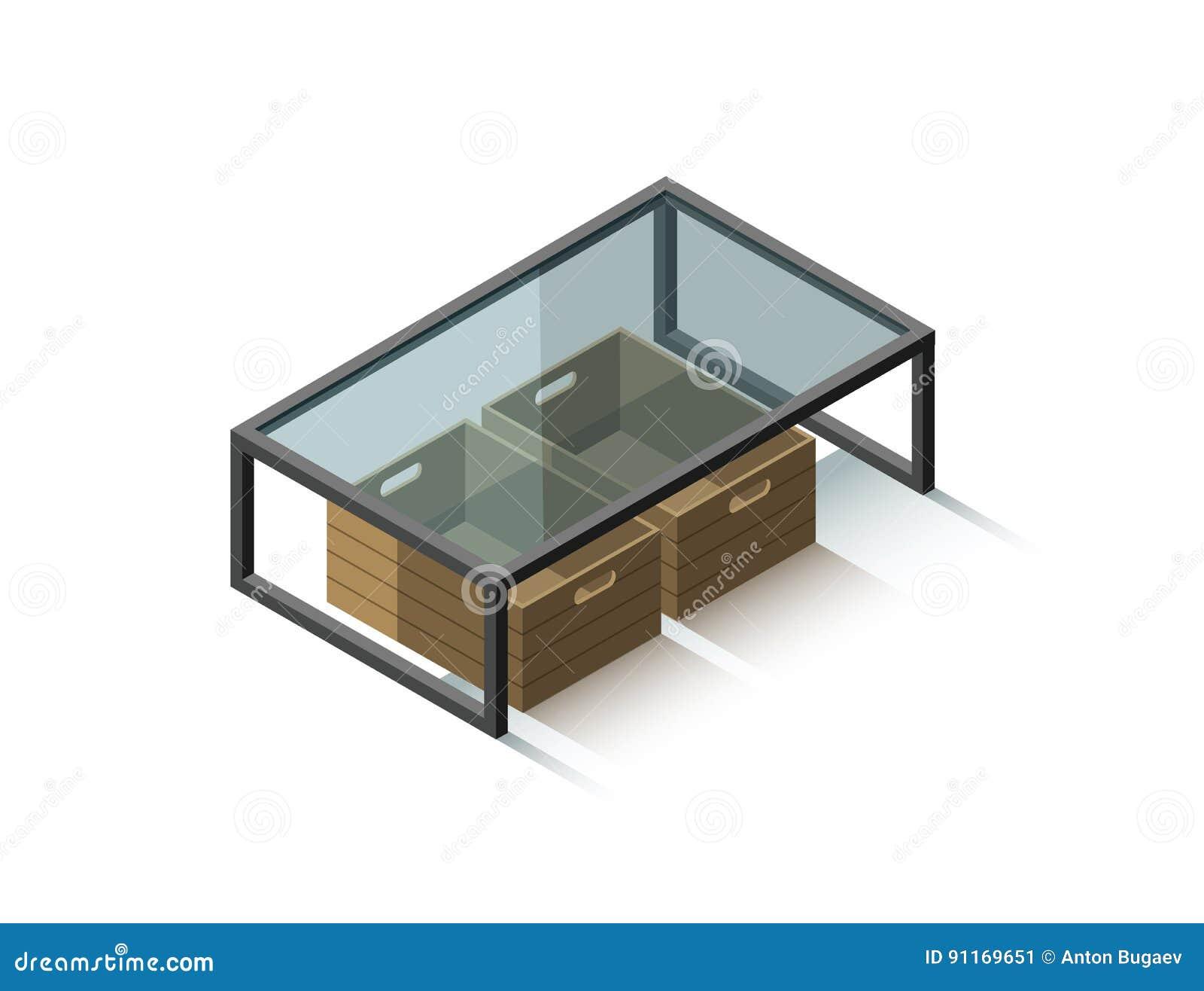 Tavolino Contenitore Da Salotto.Tavolino Da Salotto Di Vetro Isometrico Di Vettore Con Il