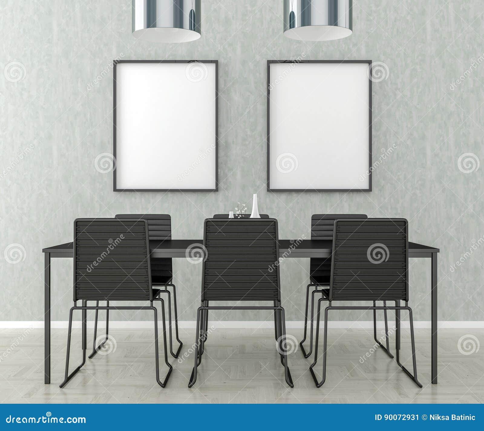 Tavolo E Sedie Per La Cucina.Tavolo Da Cucina E Sedie Cornice In Bianco Sulla Parete