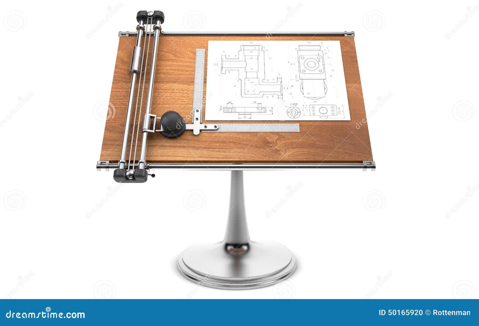 Scrivania Da Disegno : Vista superiore del tavolo da disegno con gli strumenti percorso