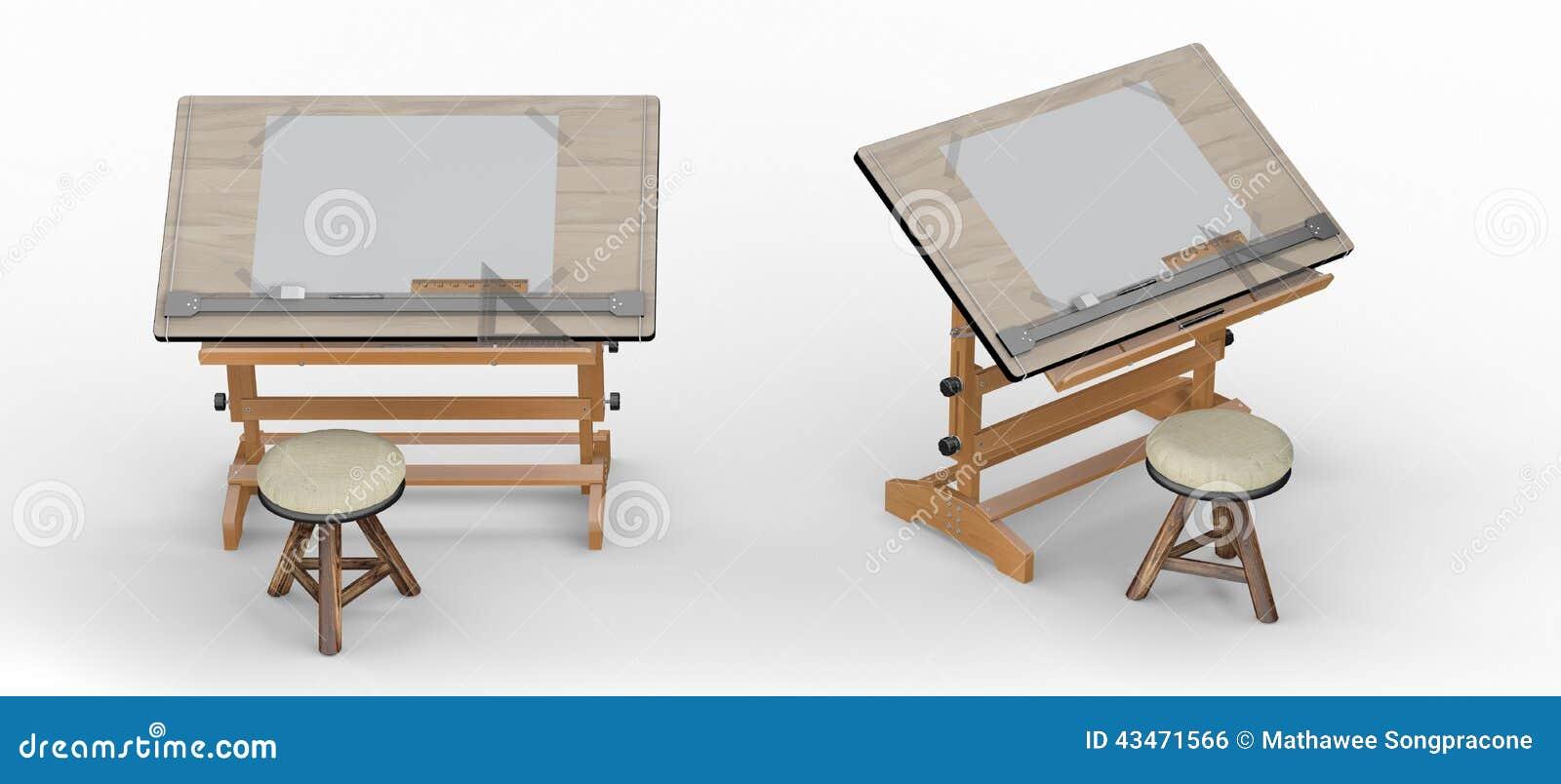 Tavolo Da Disegno Di Legno Con Gli Strumenti E Le Feci Inclu Del Percorso Di Ritaglio Illustrazione Di Stock Illustrazione Di Matita Misura 43471566