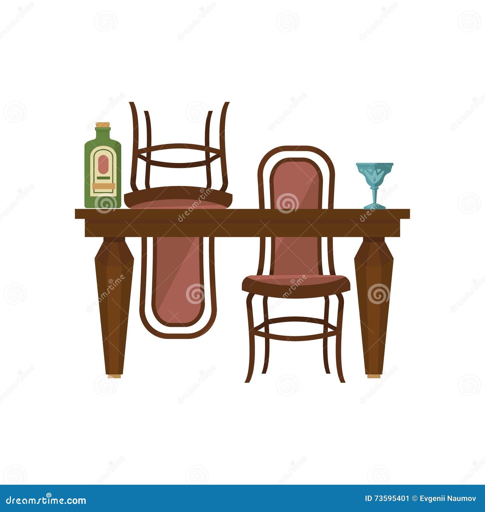 Tavolo da pranzo e sedie di legno antichi illustrazione for Sedie da tavolo pranzo