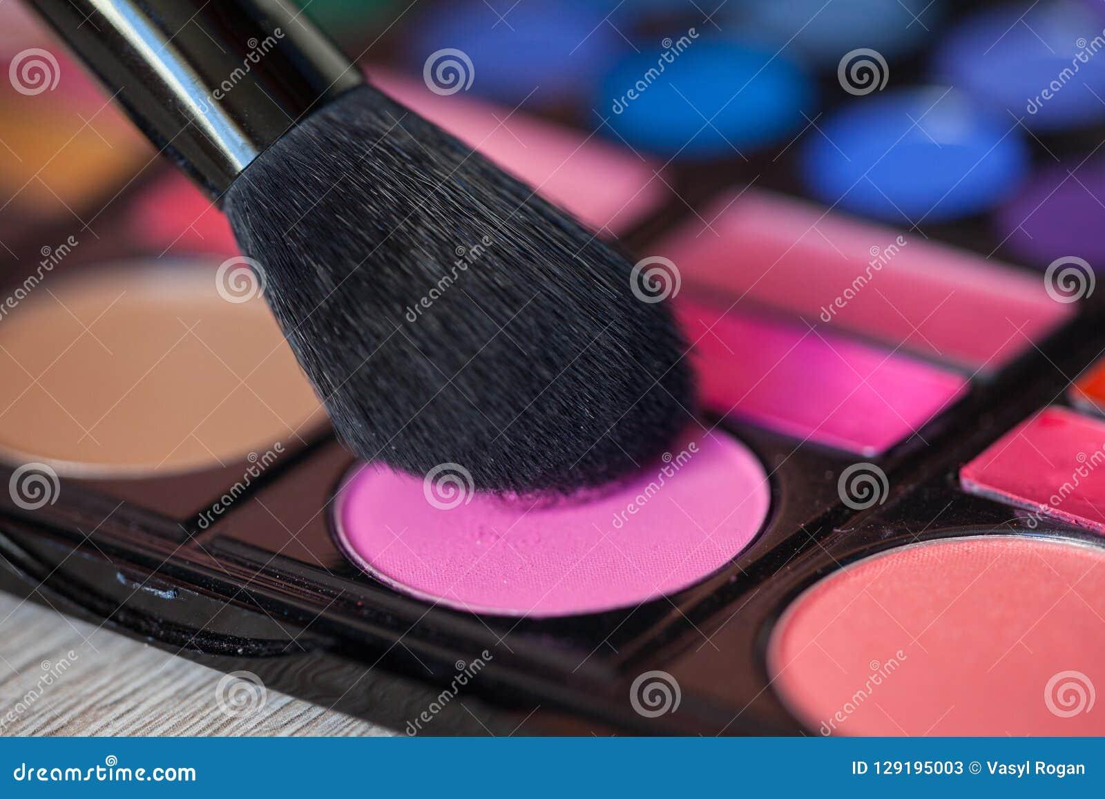 Tavolozza variopinta di trucco con la spazzola di trucco, filtro colorato
