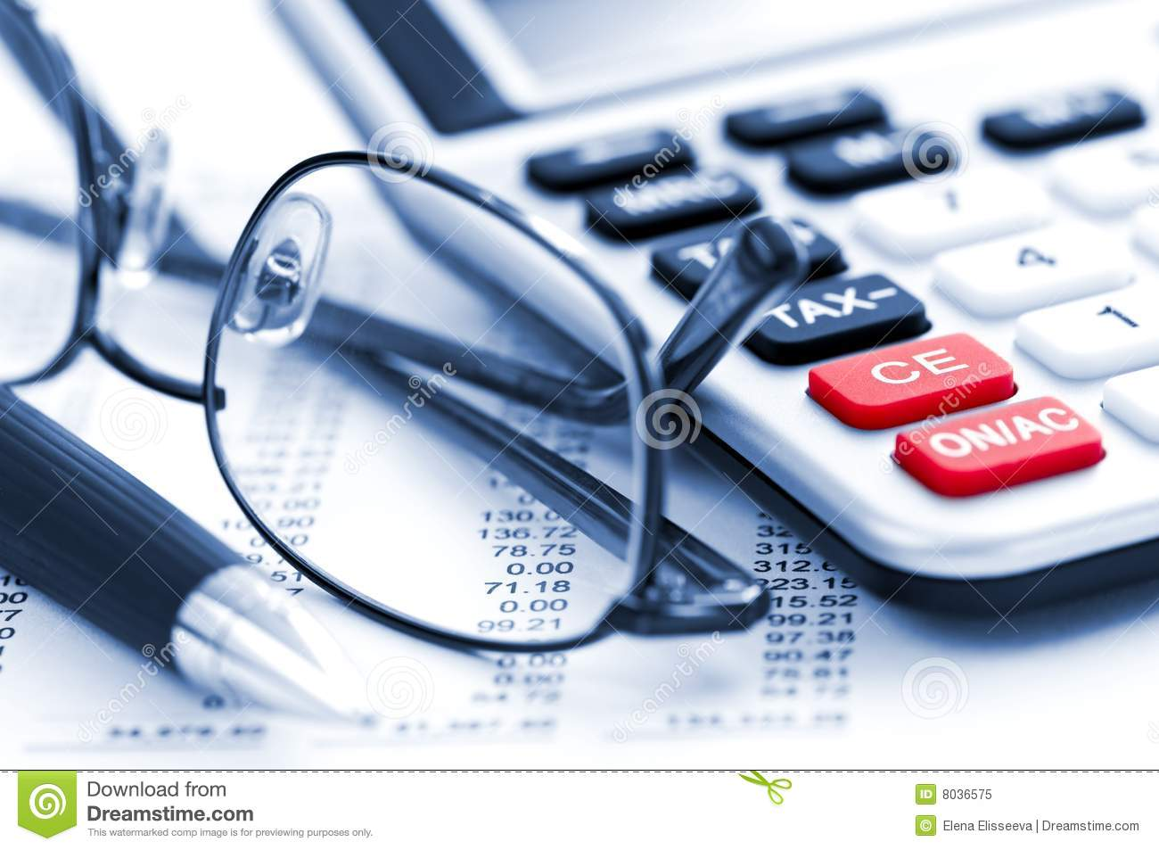 tax calculator pen and glasses stock image image of analyzing