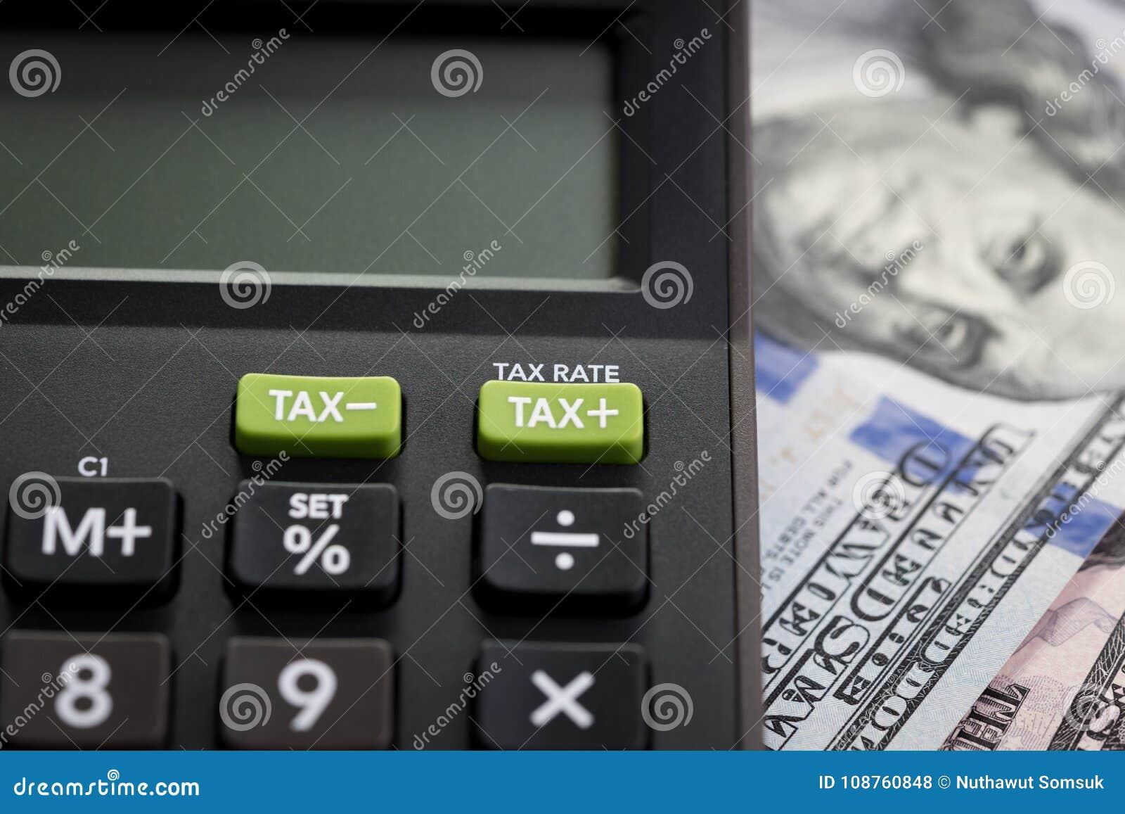 Tax cuts or reduce concept, Closed up shot of TAX minus / plus b