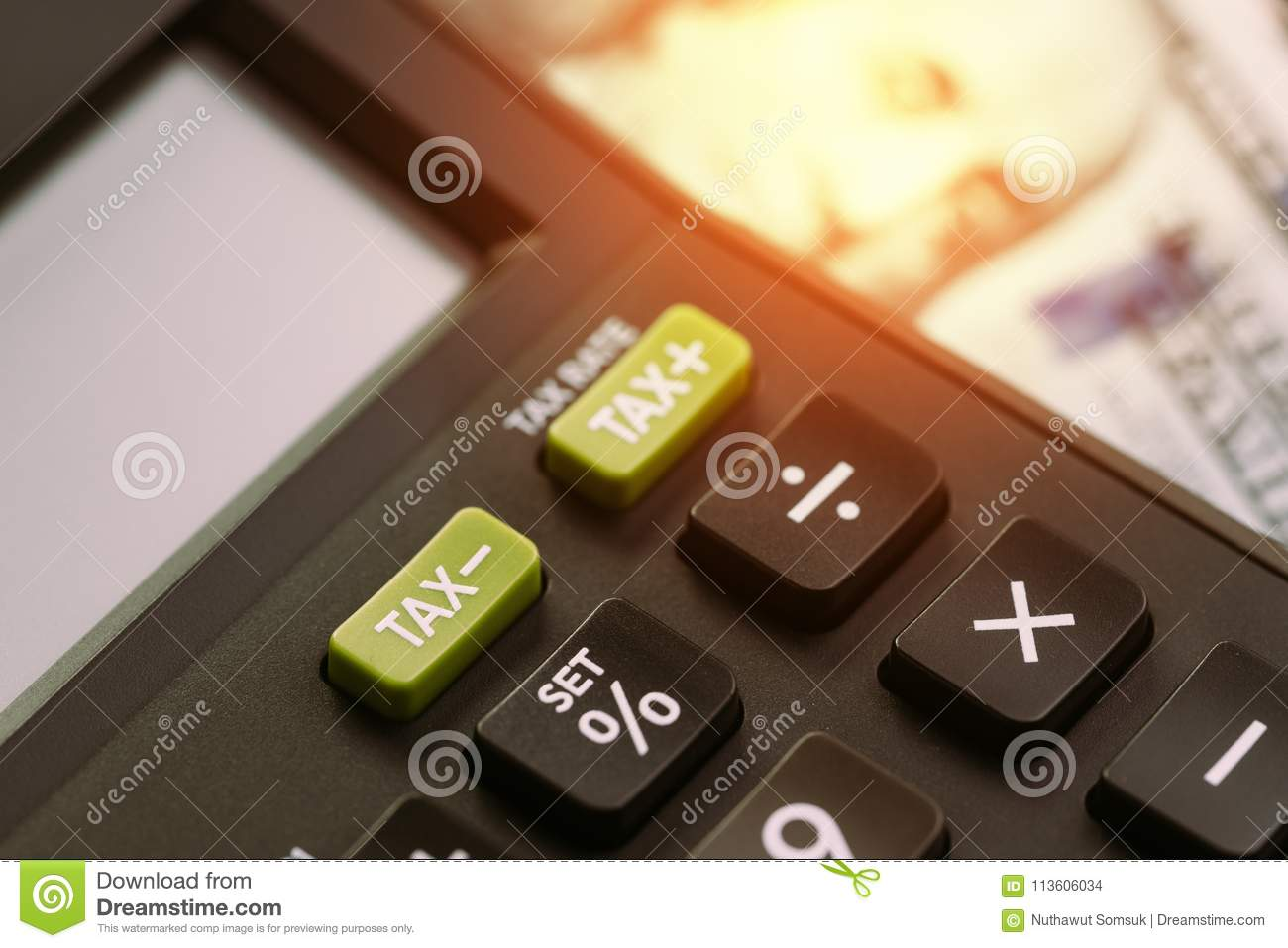 Tax cuts or reduce concept, selective focus on TAX minus buttons