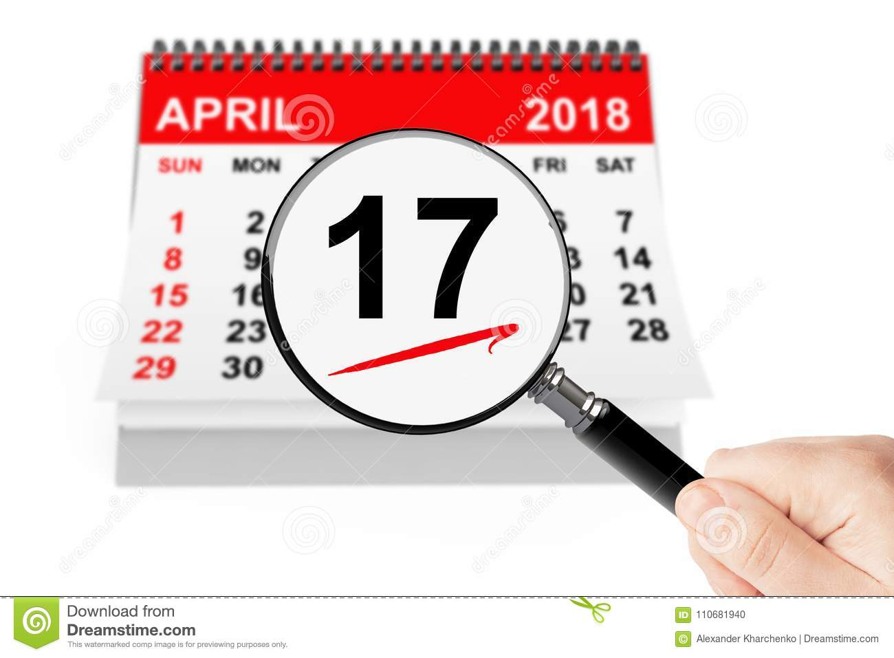 17 april 2018 calendar with magnifier stock photo image of