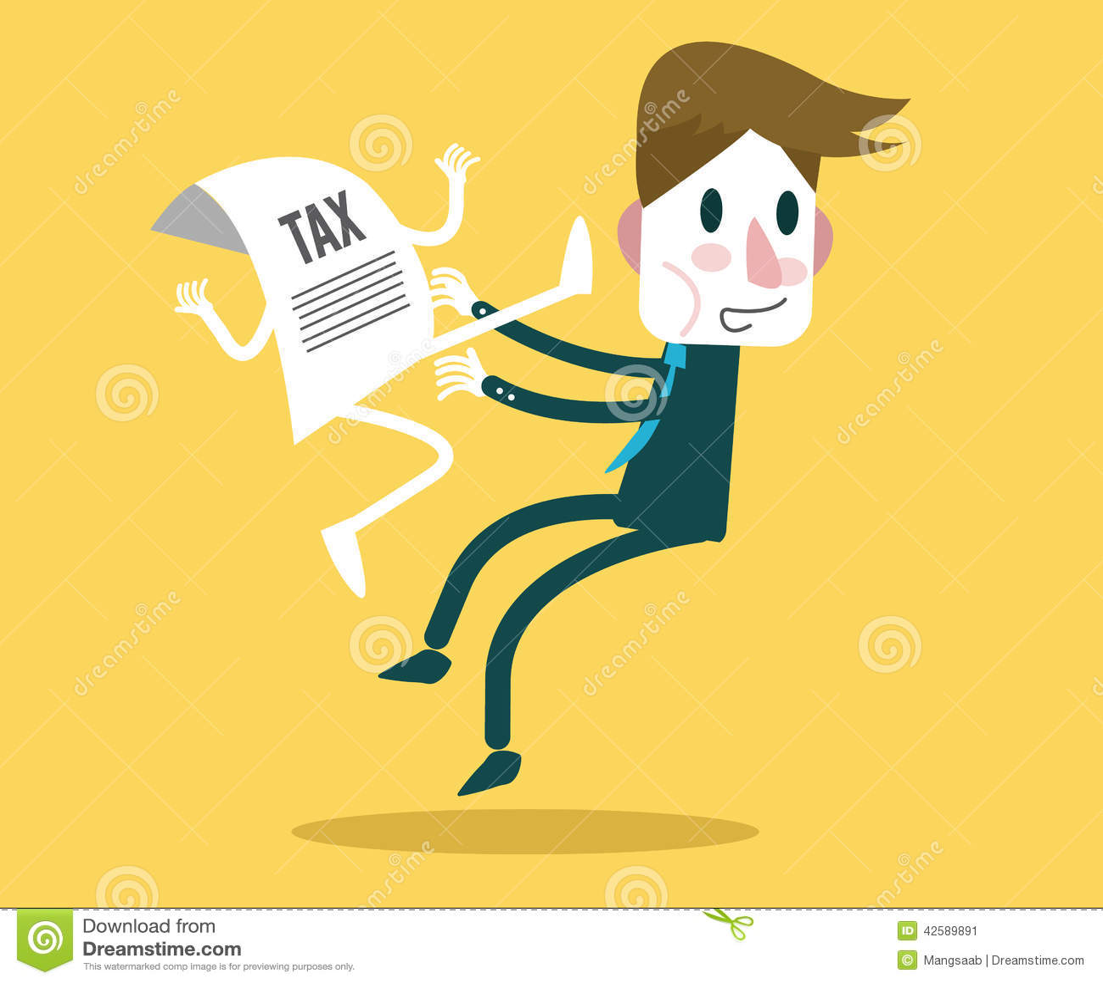 TAX document jump kick businessman. Tax Burden concept design.