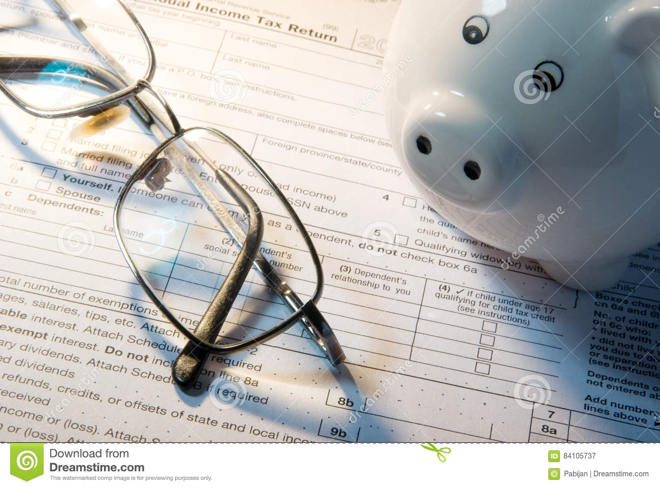 5e0d9d320f Tax form business financial concept - individual return tax form with  money