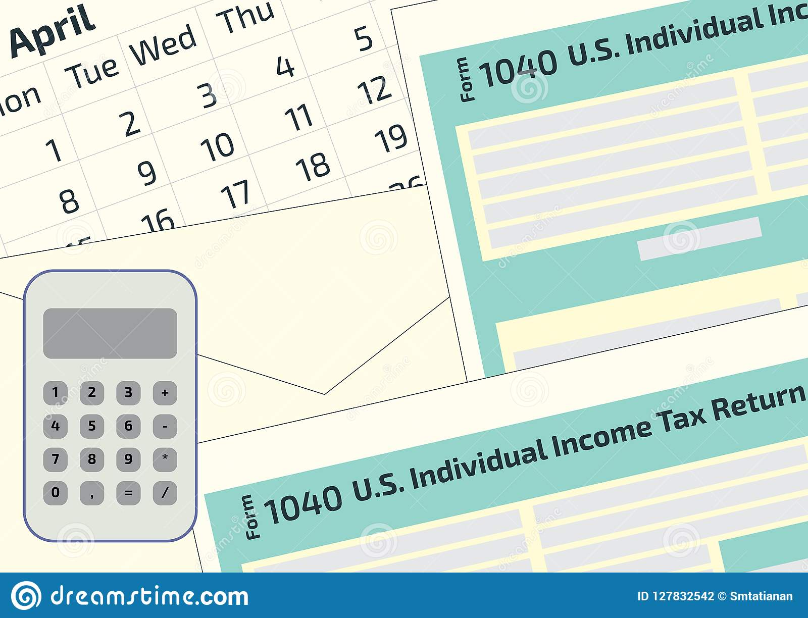 2019, 2018 Tax Form 1040 And The Envelope, A Calendar And