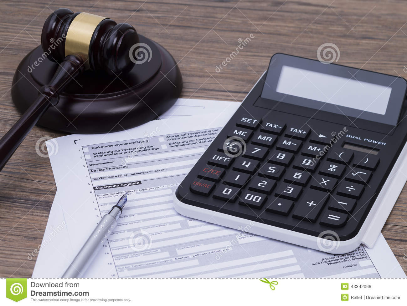 Tax form with gavel