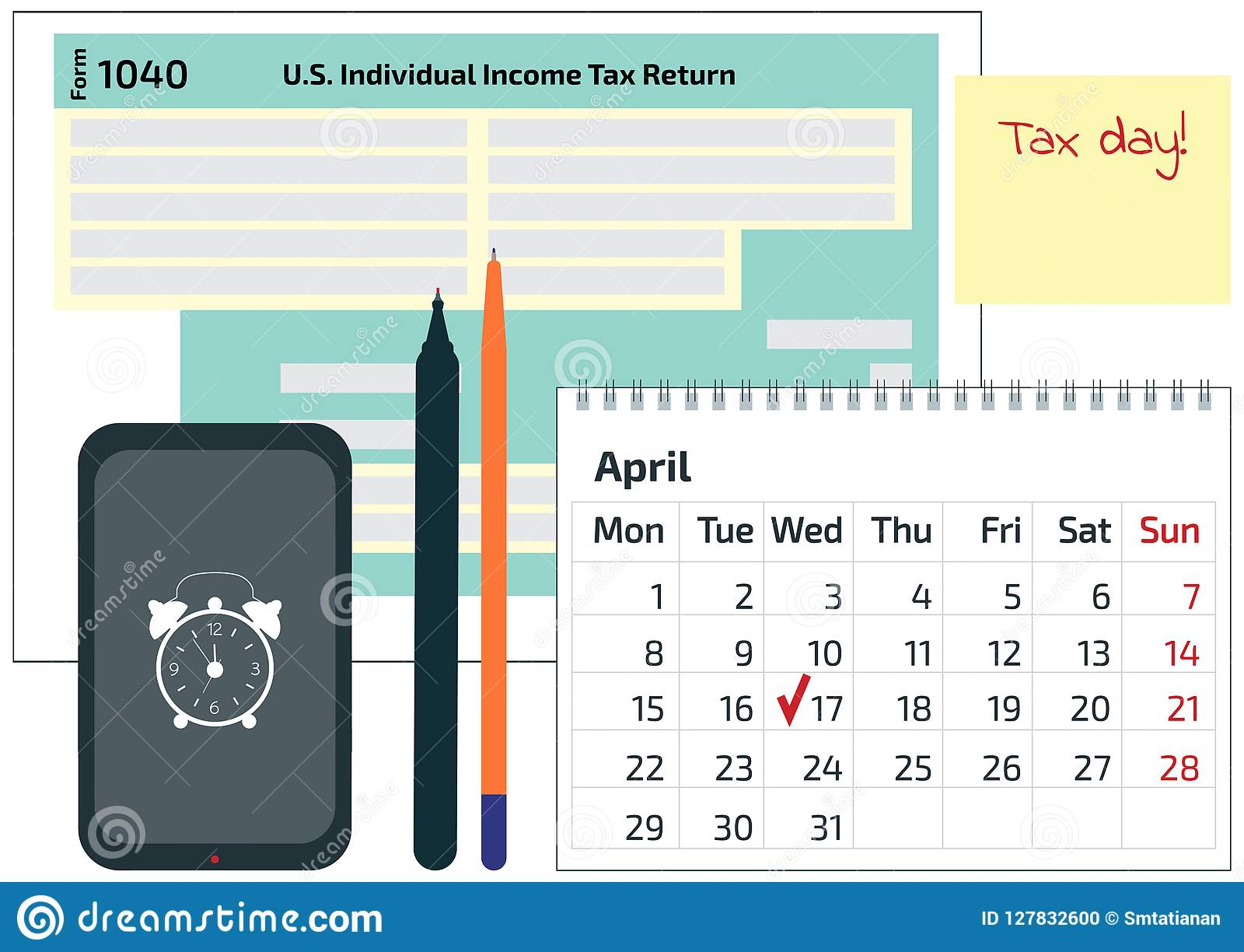 2019 2018 tax form 1040 mobile phone a pen and a calendar