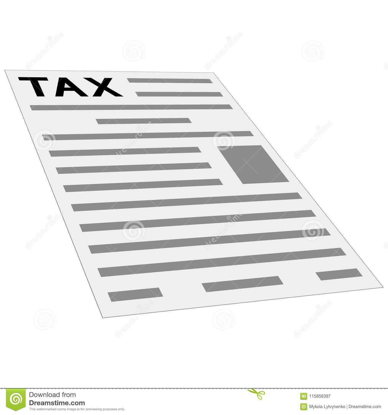 Tax Form Payment Icon Concept Layout Template First Page Of Tax