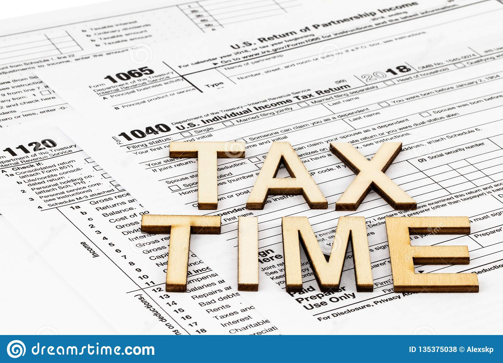 The tax forms 1040,1120,1065. Tax Day concept