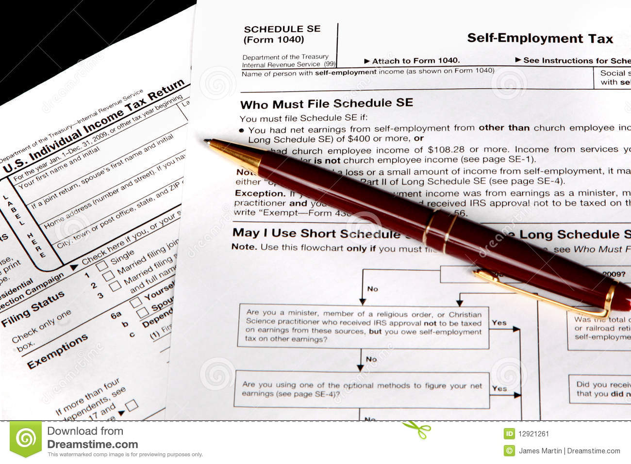 Tax Forms For The Self Employed Stock Image Image Of Schedule