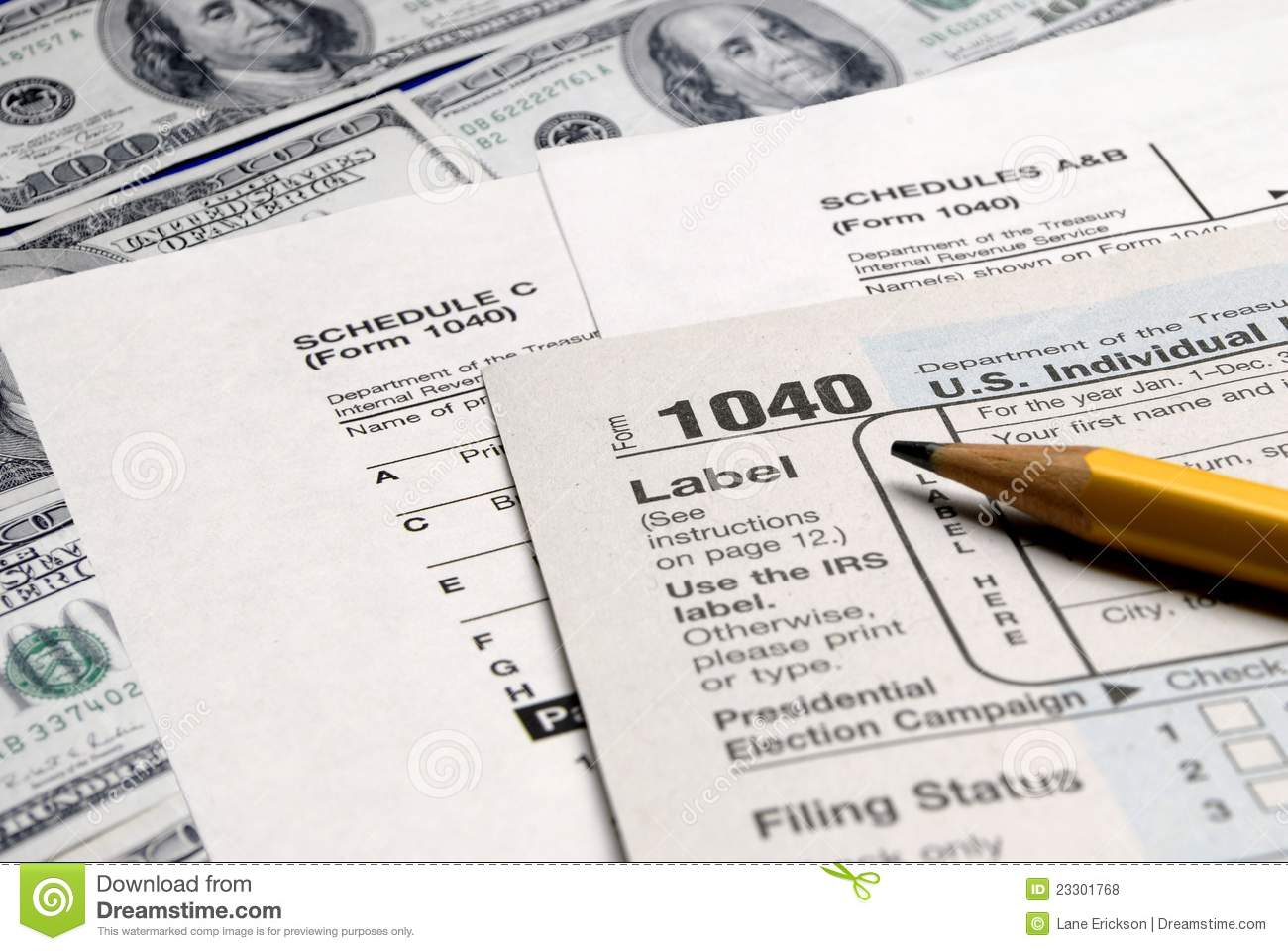 Tax Forms on top of Money