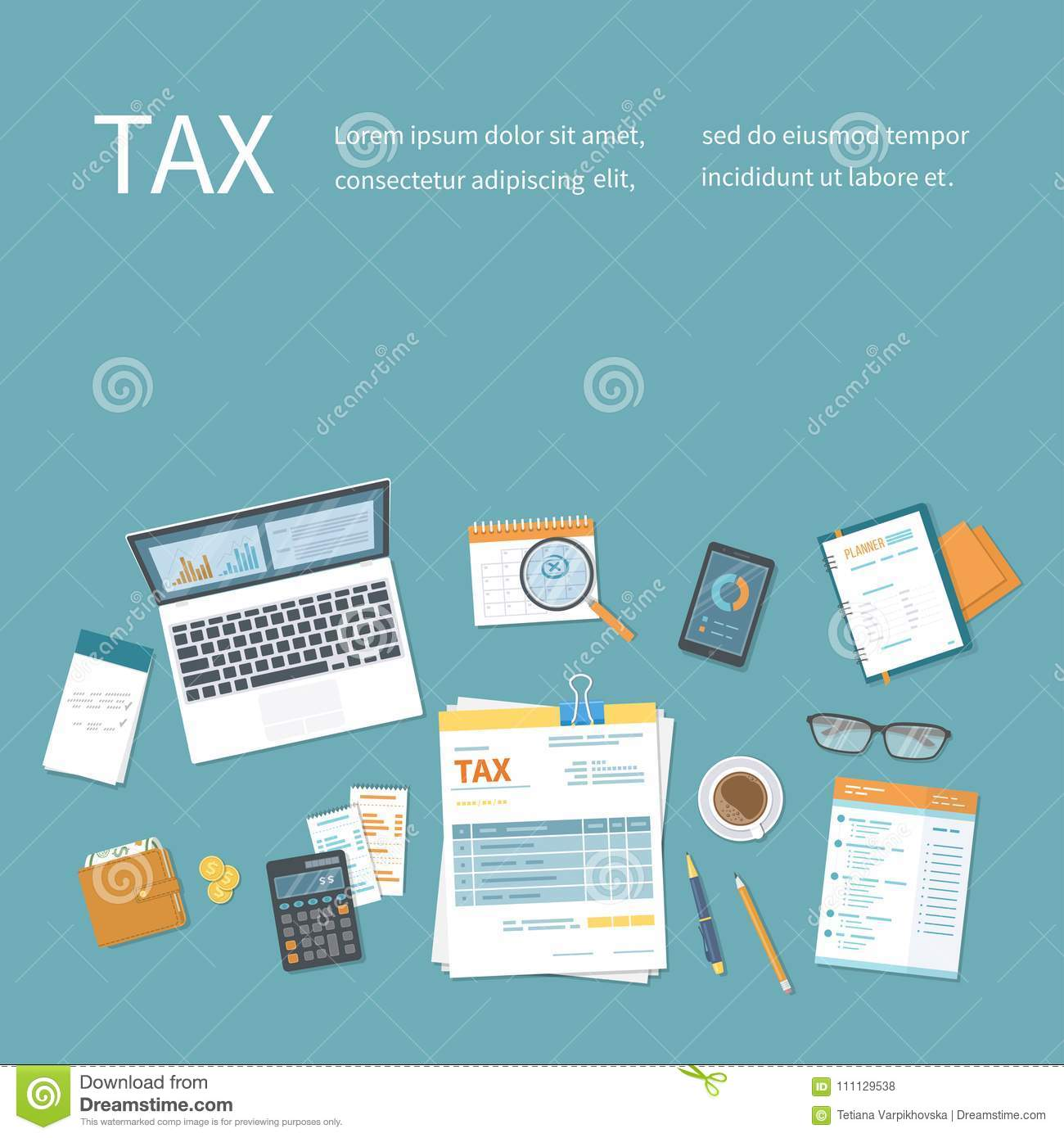 Income Tax Return Form Calendar Glasses Stock Illustrations