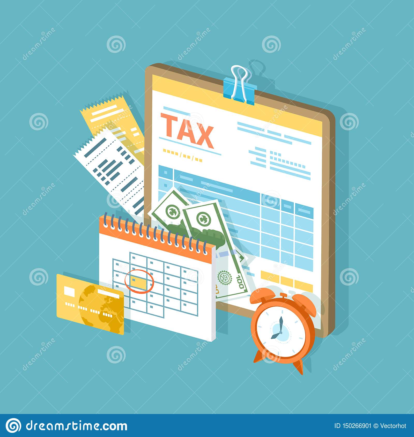 Tax Payment. Government, State Taxes. Payment Day. Tax Form On A Clipboard, Financial