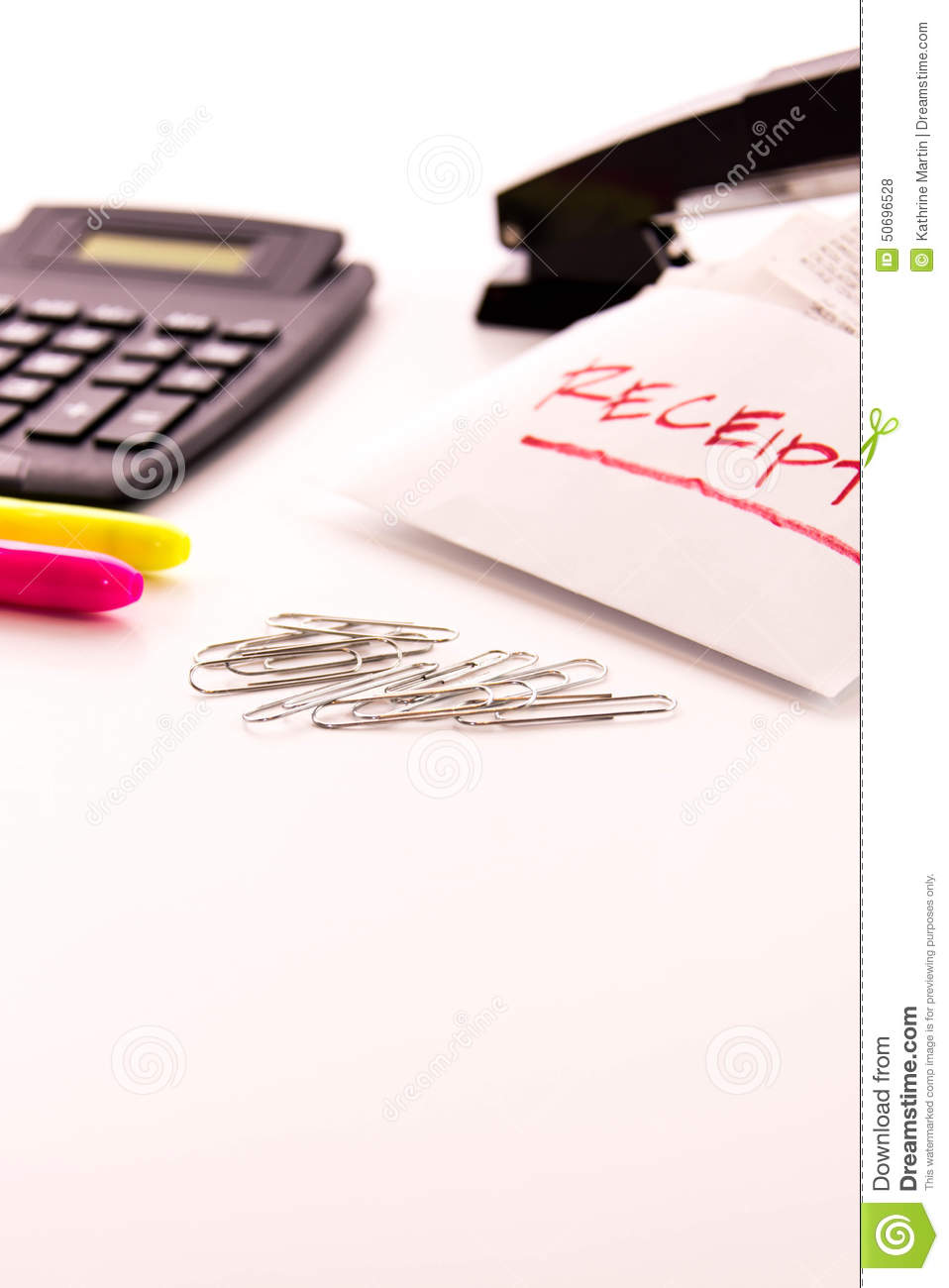 Tax preparation supplies and receipts