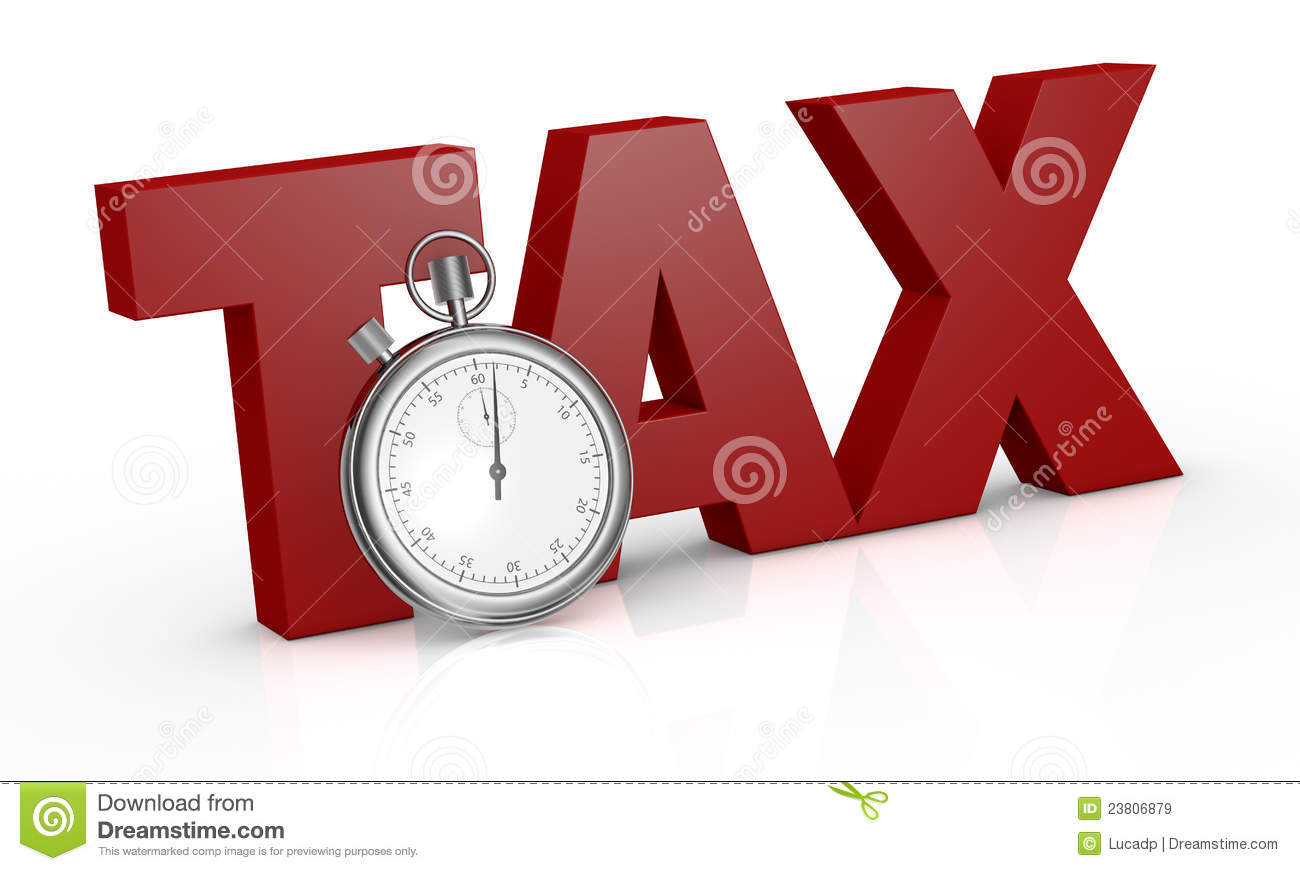 The word tax with a stopwatch on front of it (3d render).