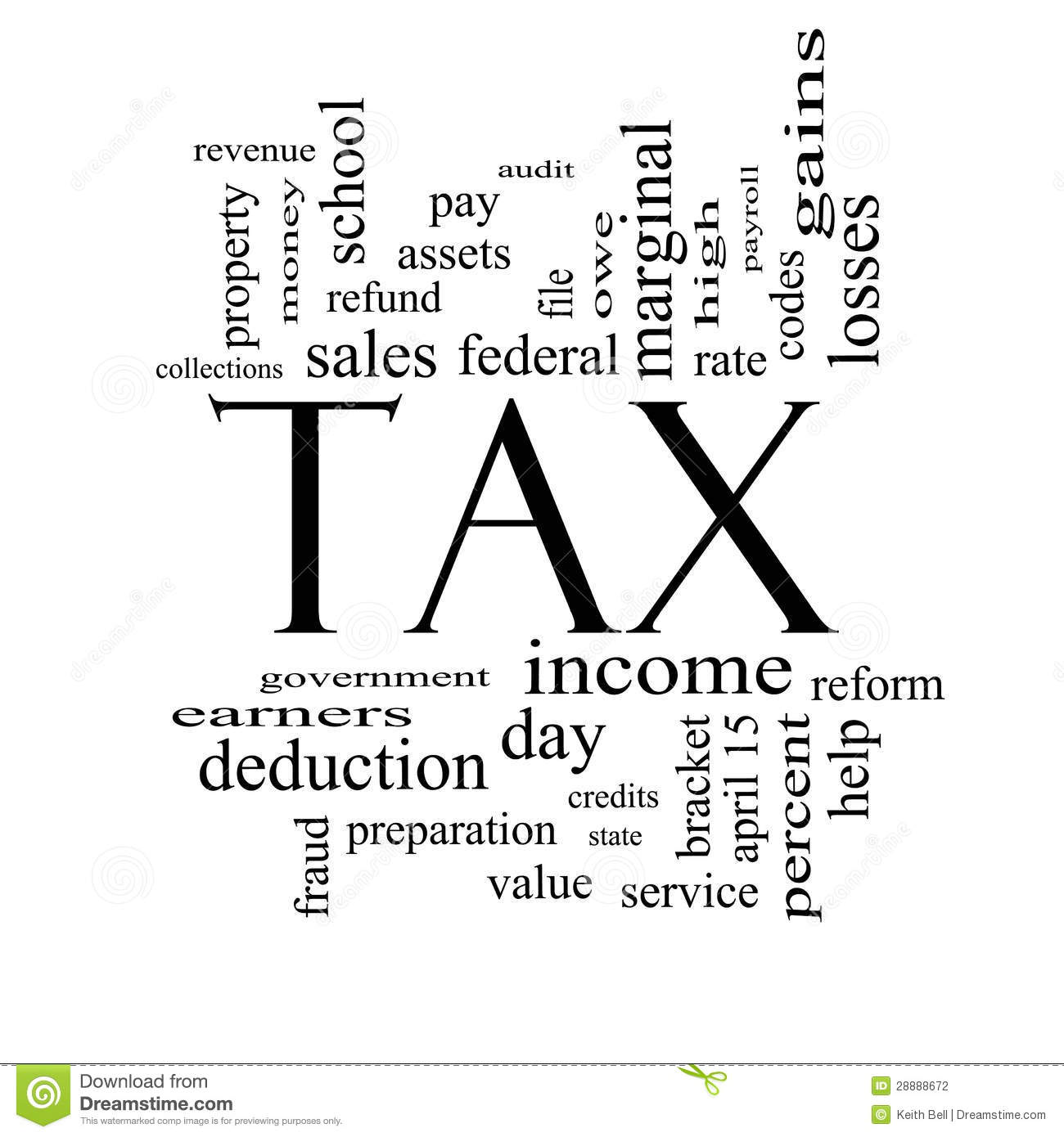 Tax Word Cloud Concept In Black And White Stock ...