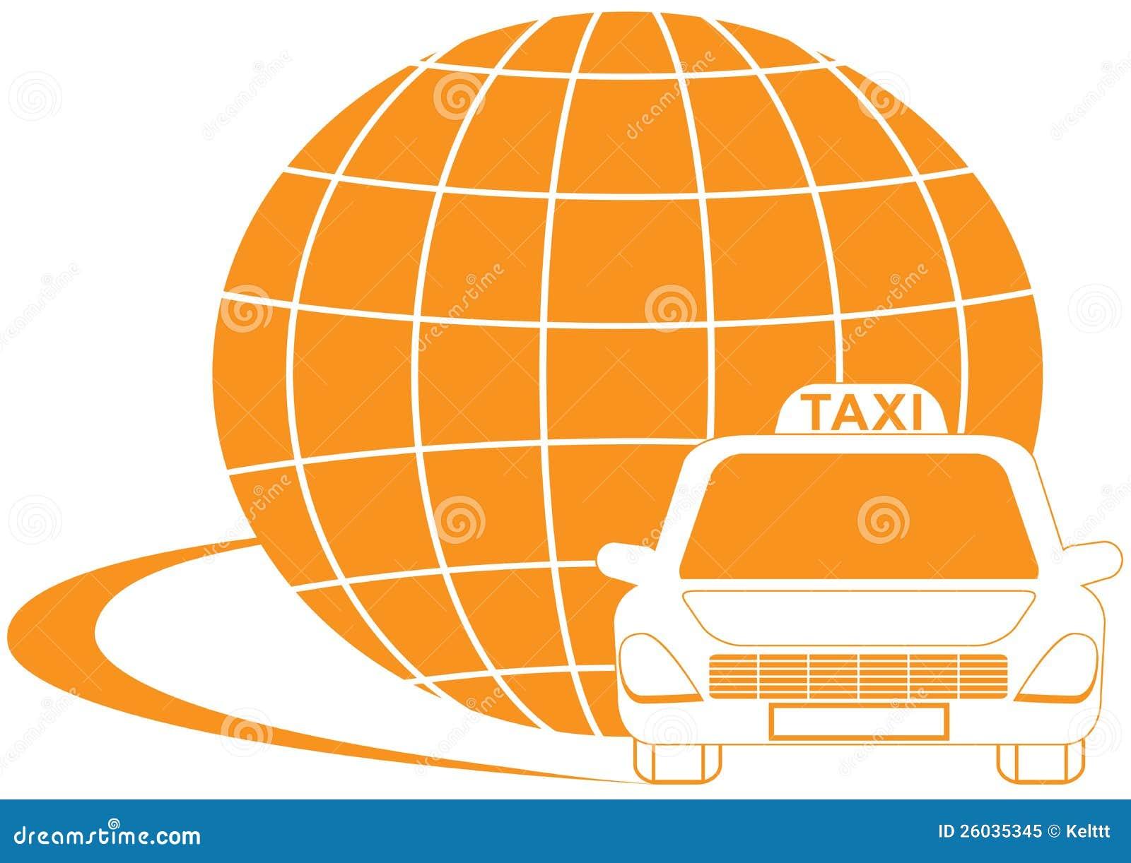 Taxa symbolet med den väg-, cab- och planetsilhouetten