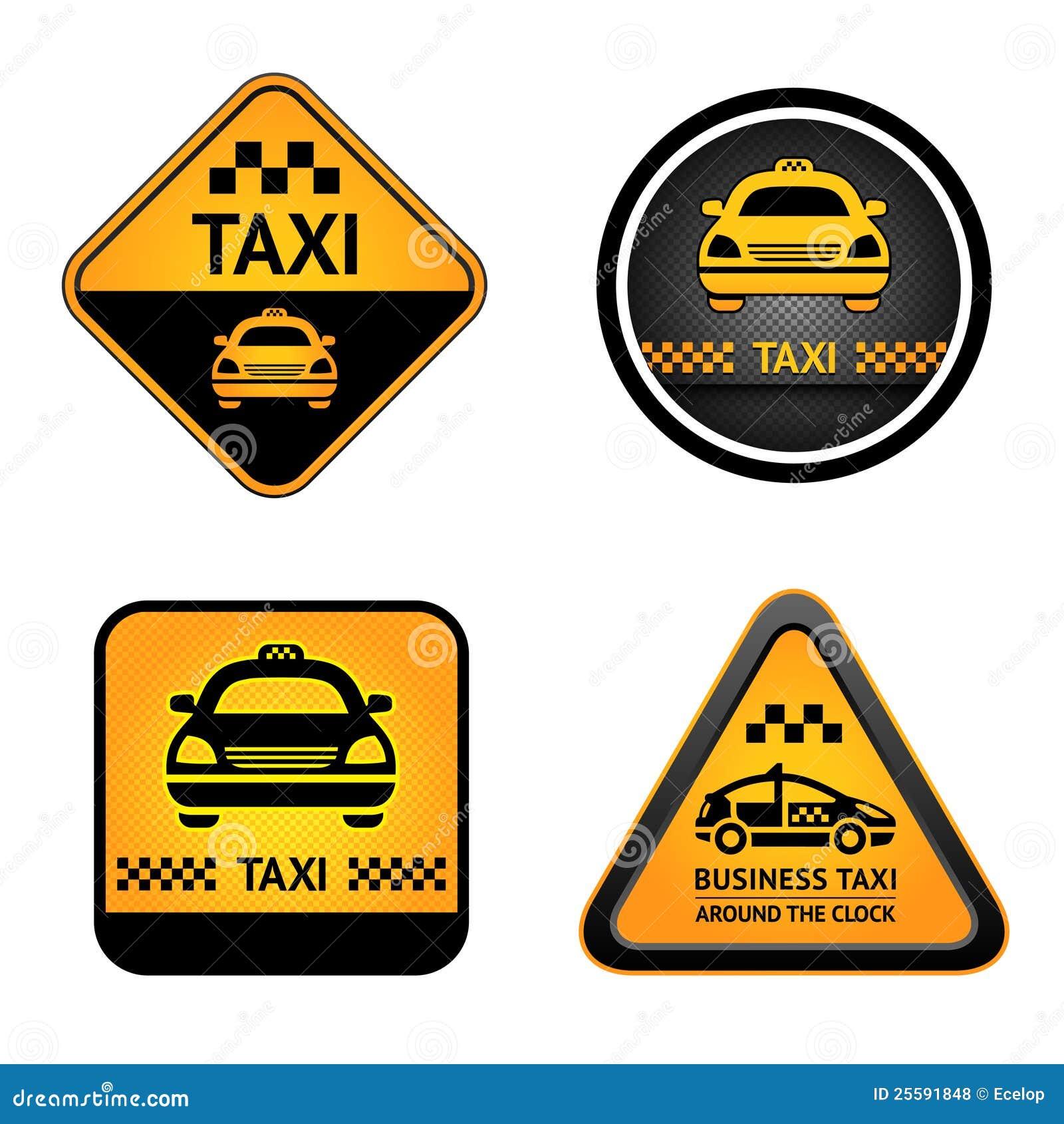 Taxar set etiketter för cab