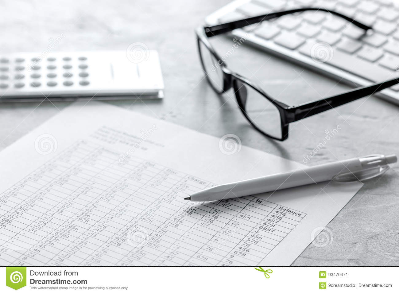 taxes accounting with calculator in office work space on stone desk background top view