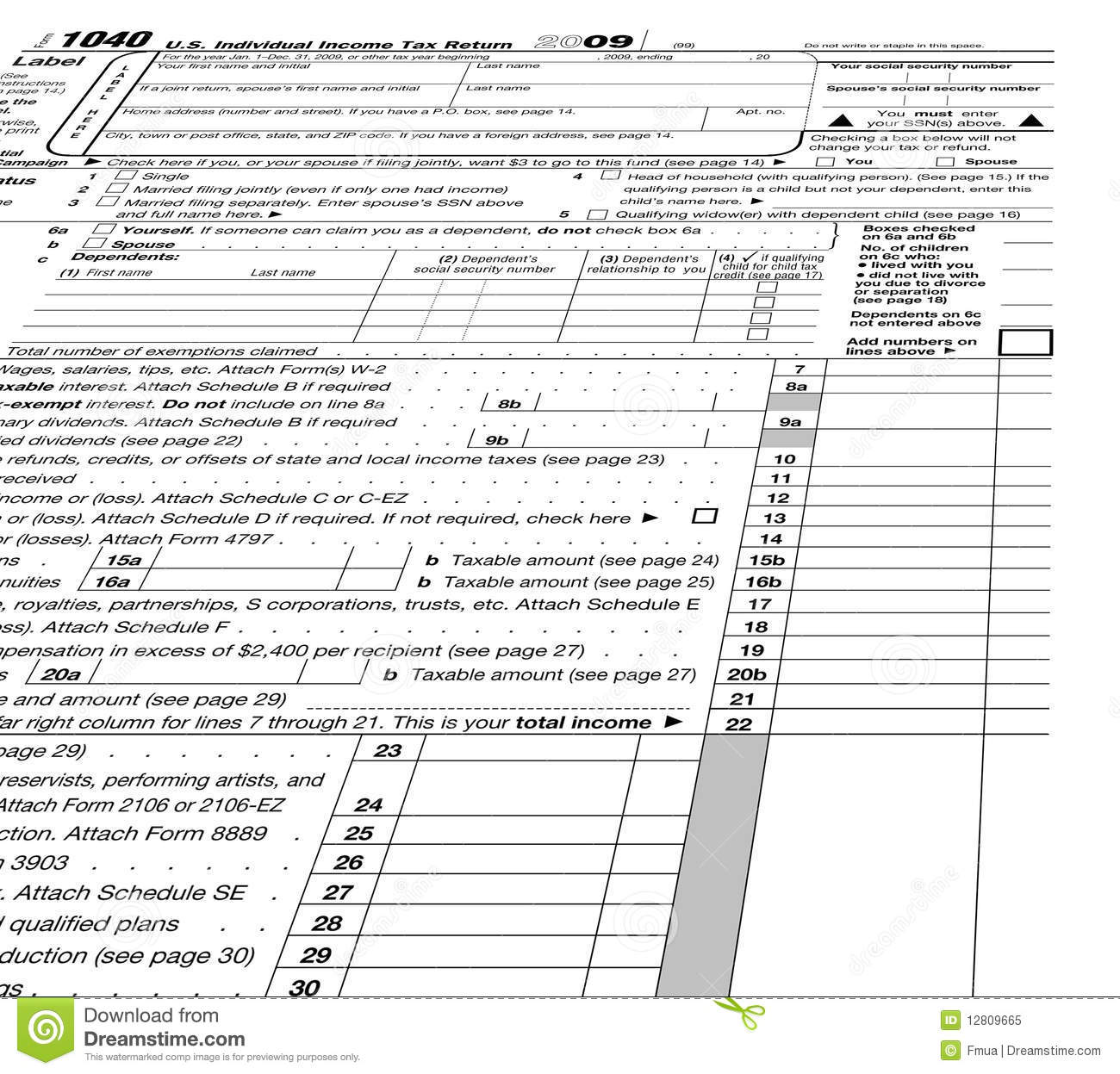 Taxes Concept, Empty Form 1040 Blank Stock Image