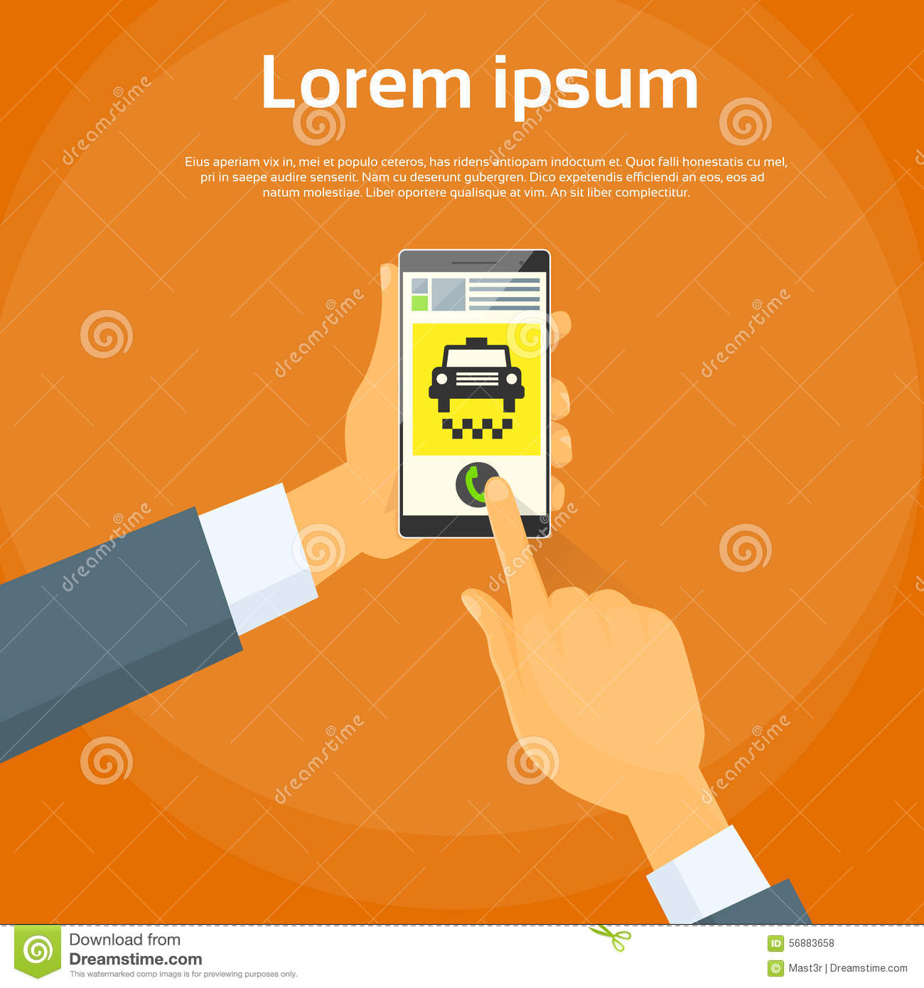 Taxi Application Hand Use Smart Phone Call Cab Car